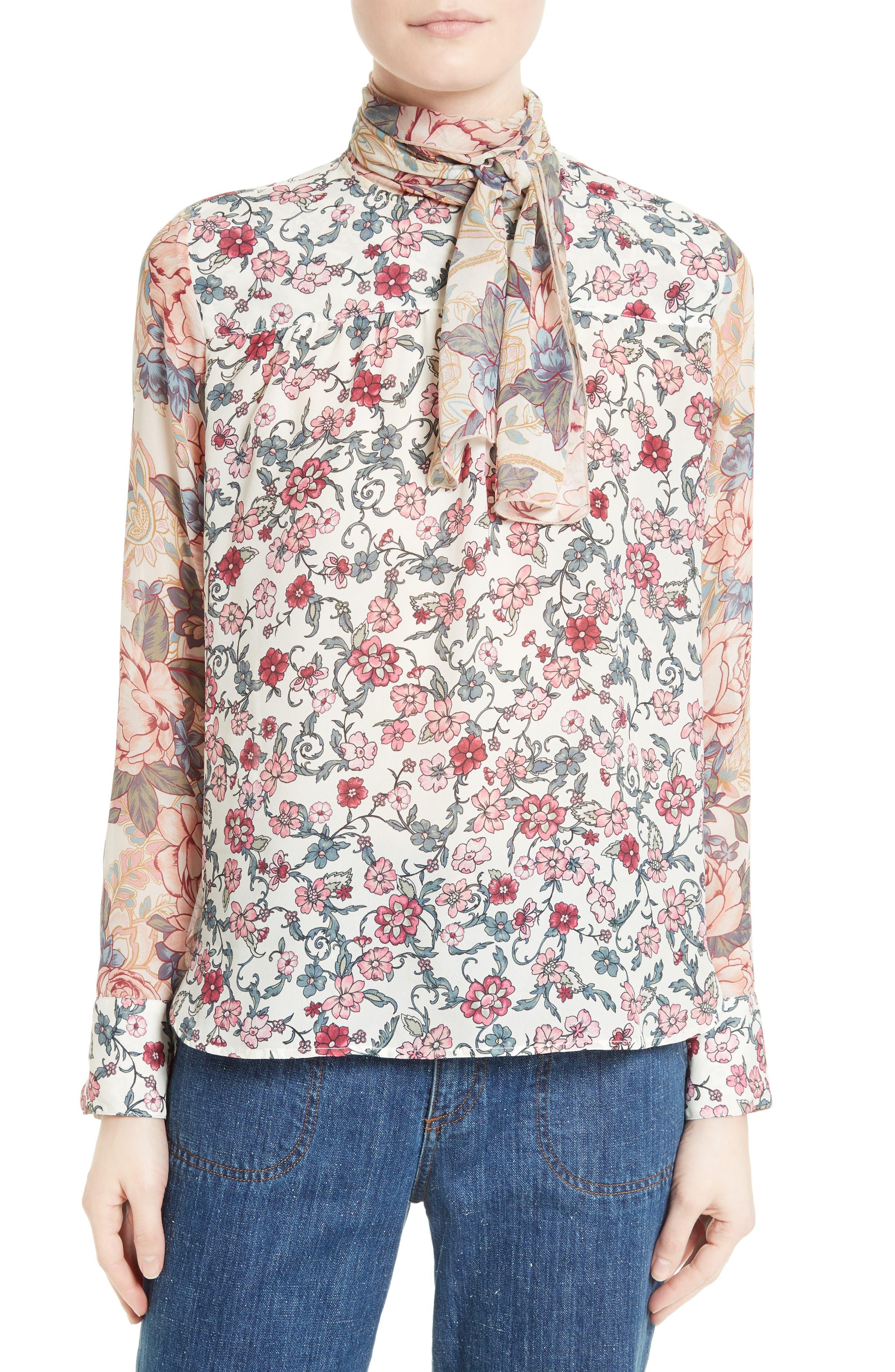 Floral Tie Neck Blouse,                         Main,                         color, 650