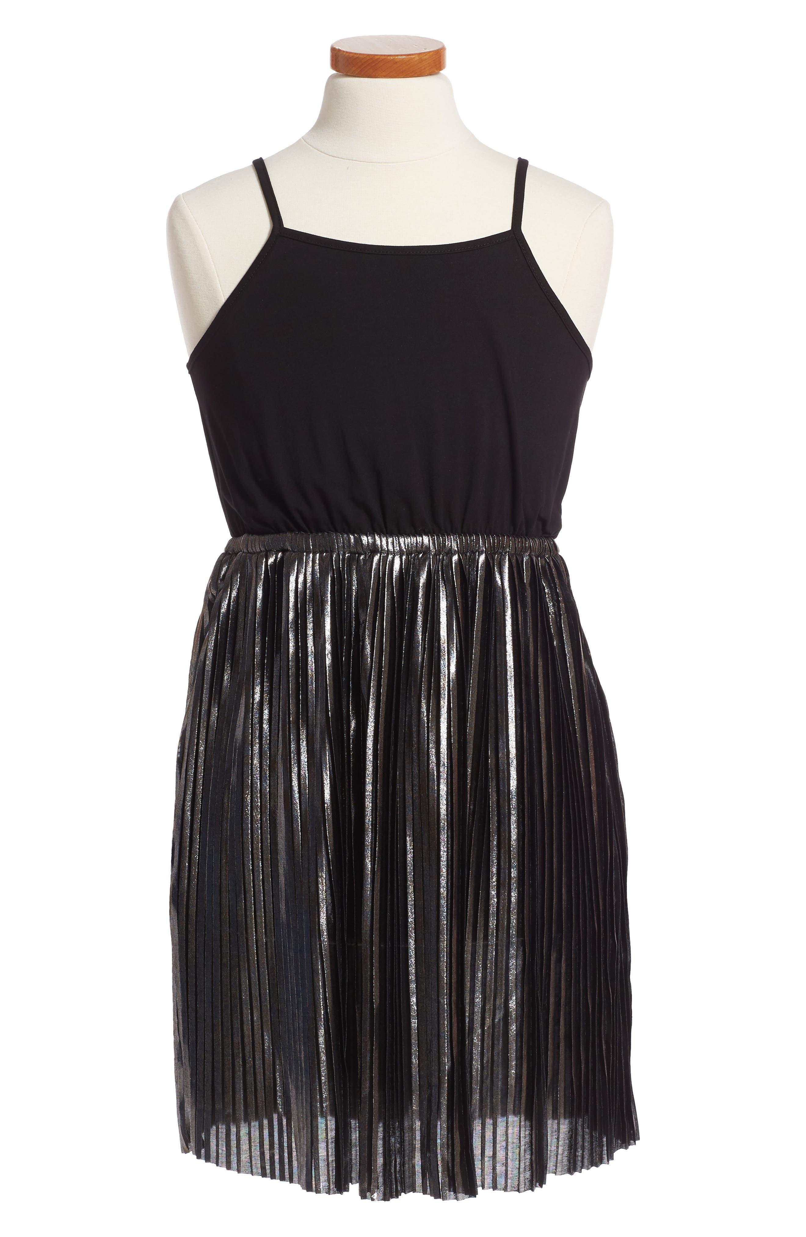 Metallic Sleeveless Dress,                             Main thumbnail 1, color,                             024