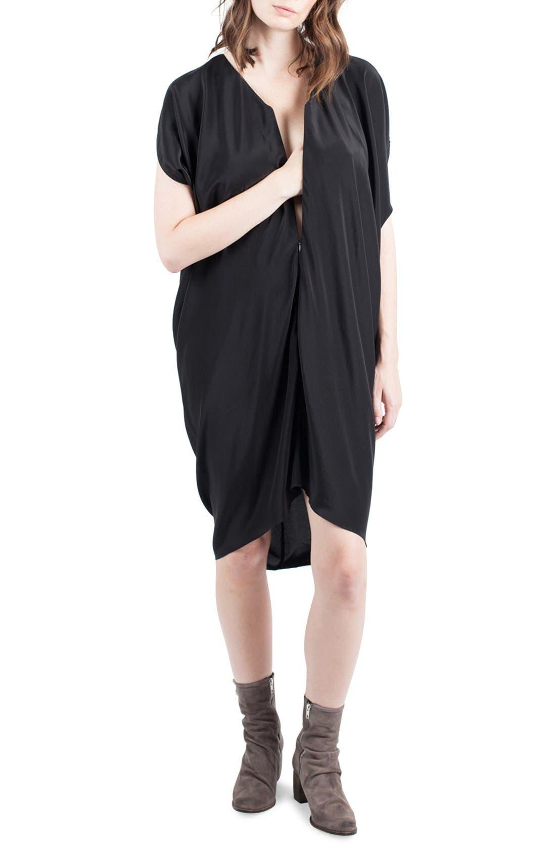 Silk Maternity/Nursing Dress,                             Alternate thumbnail 6, color,                             001