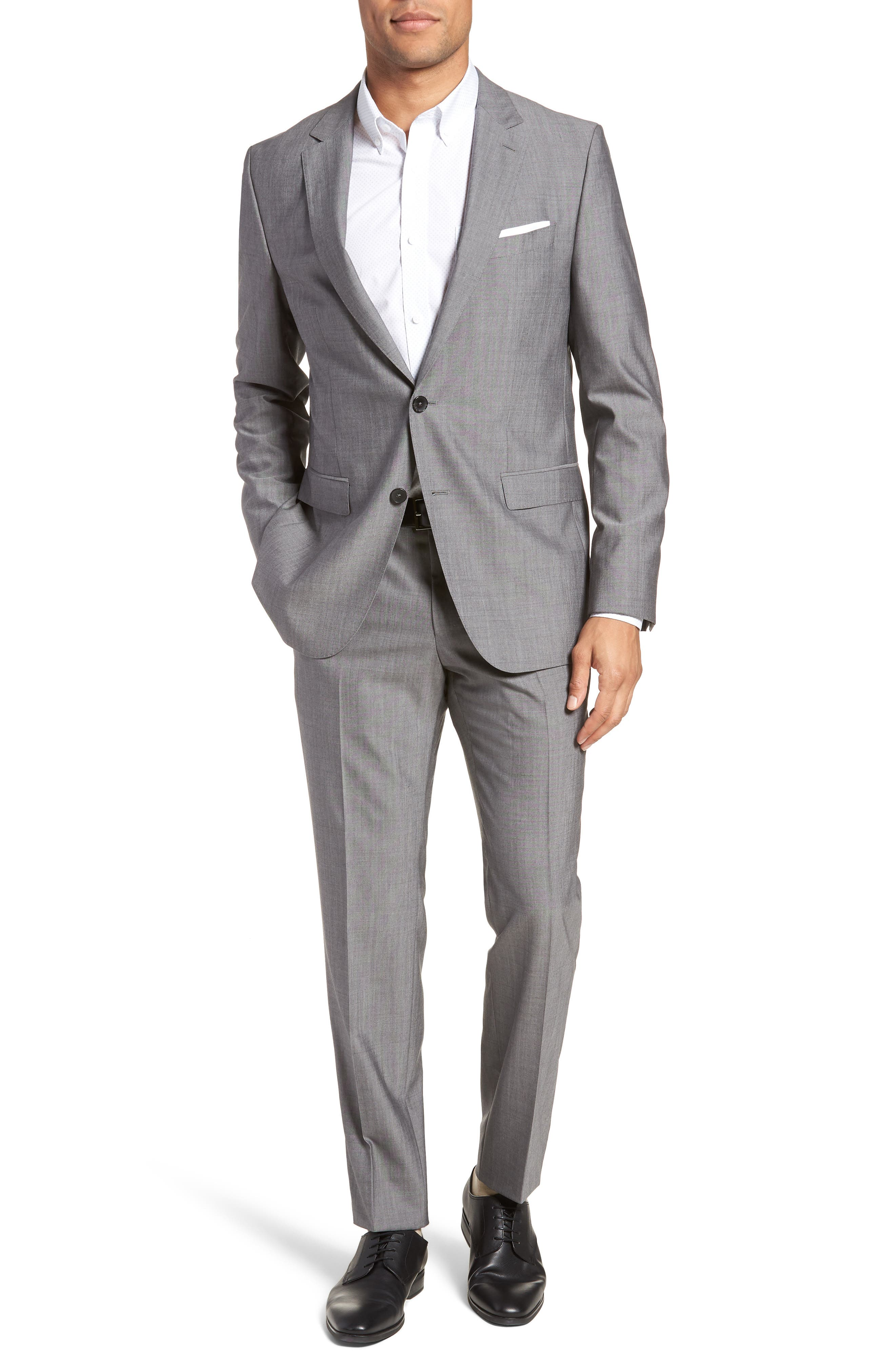Novan/Ben Trim Fit Solid Wool Suit,                         Main,                         color, 069