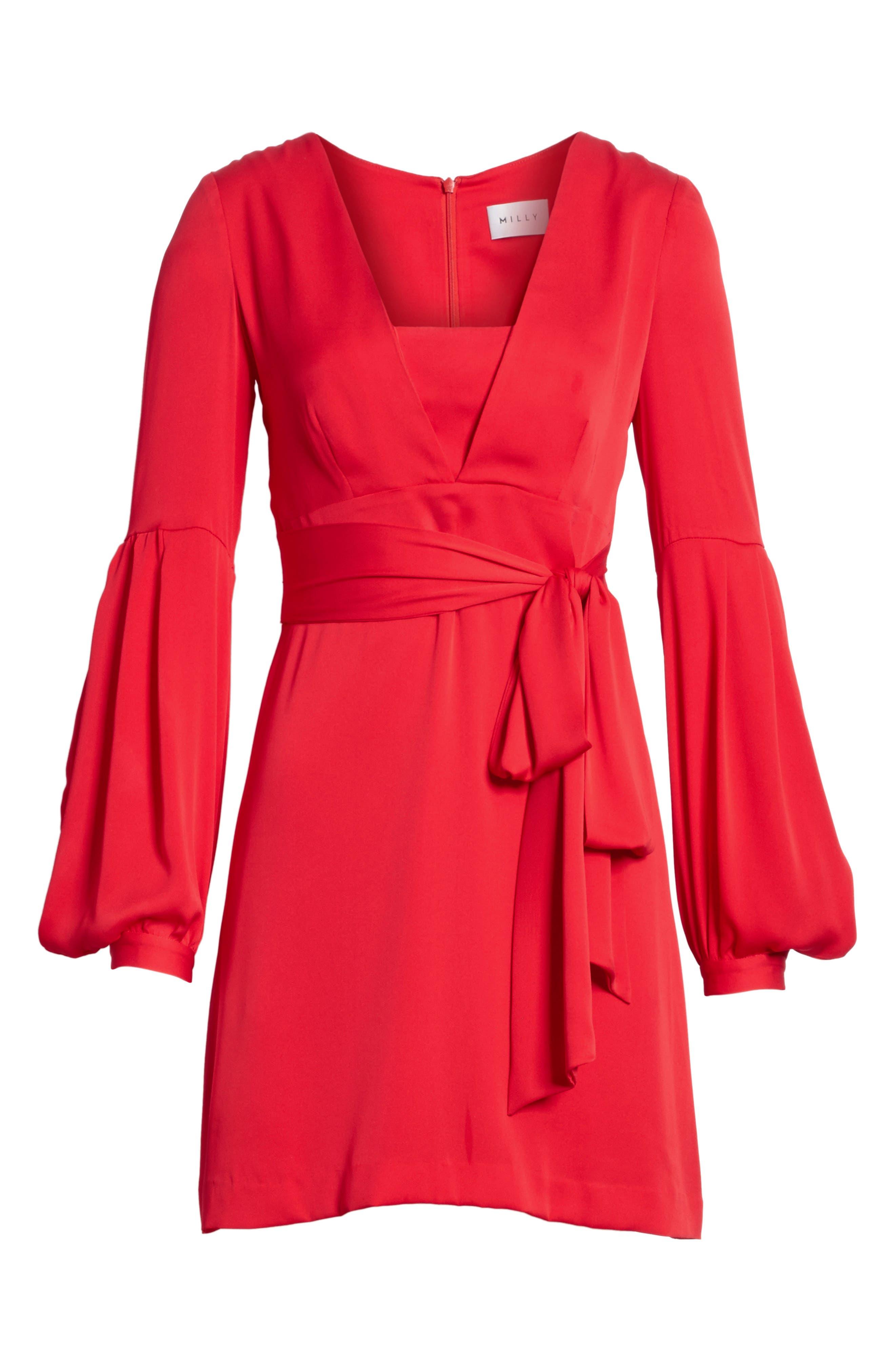 Kayla Deep V-Neck Stretch Silk Dress,                             Alternate thumbnail 9, color,