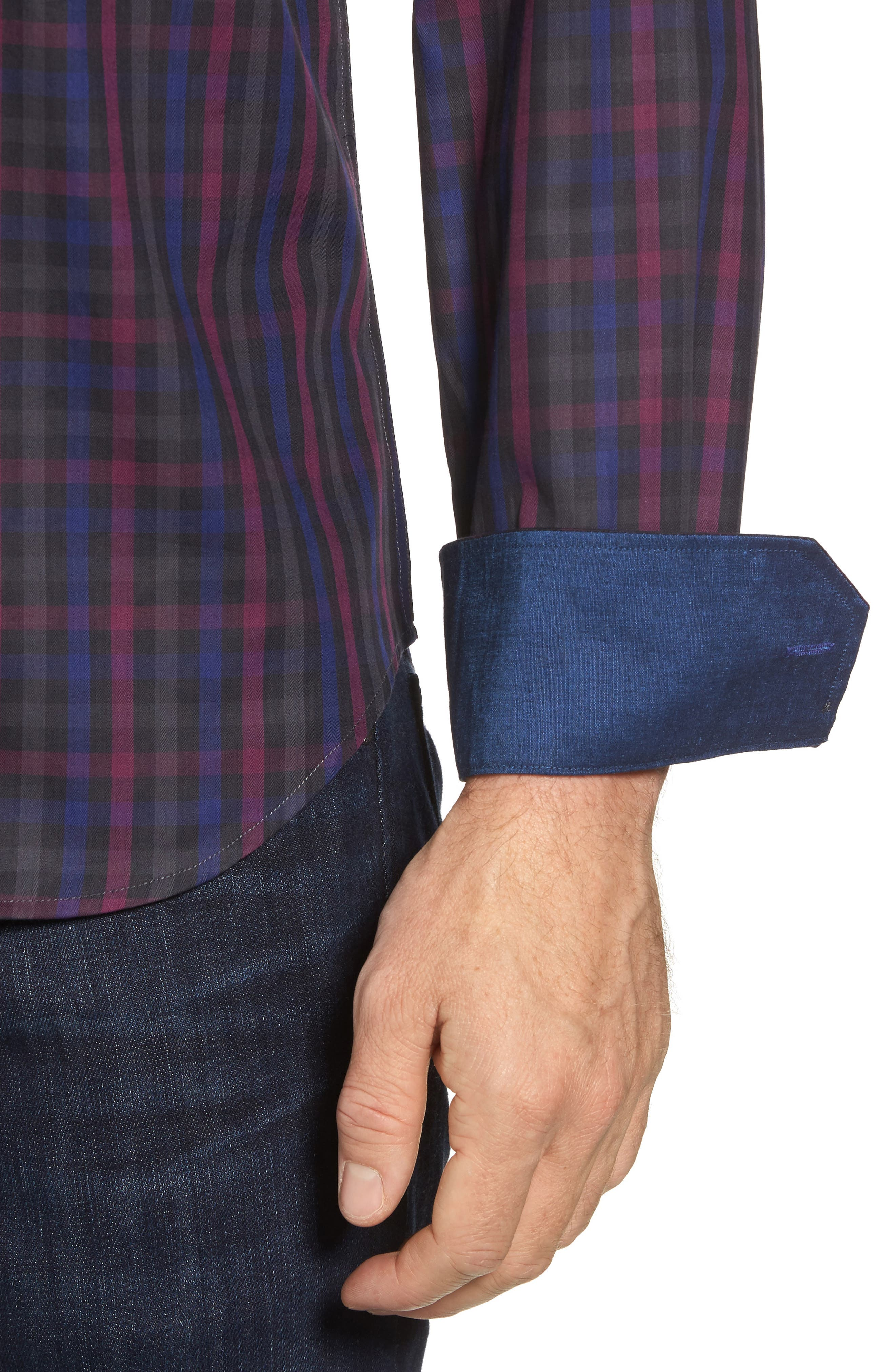 Shaped Fit Herringbone Plaid Sport Shirt,                             Alternate thumbnail 4, color,                             503