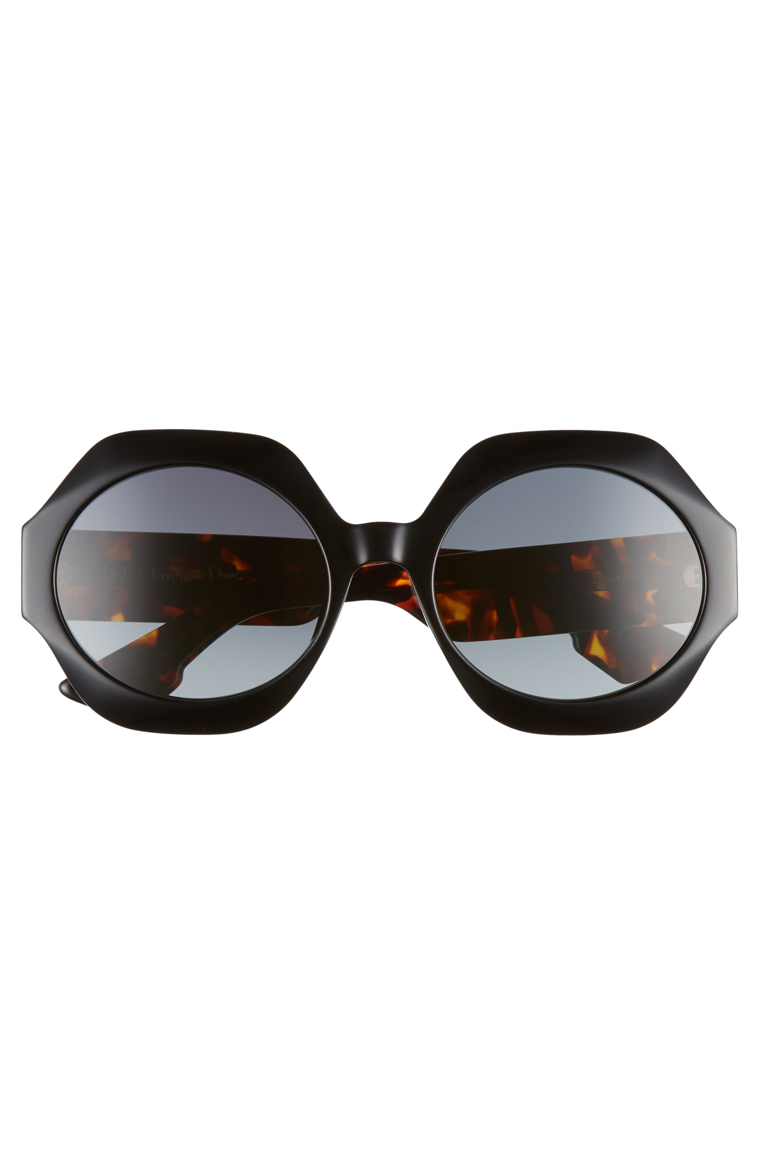 Spirit1 58mm Geometric Sunglasses,                             Alternate thumbnail 3, color,                             BLACK