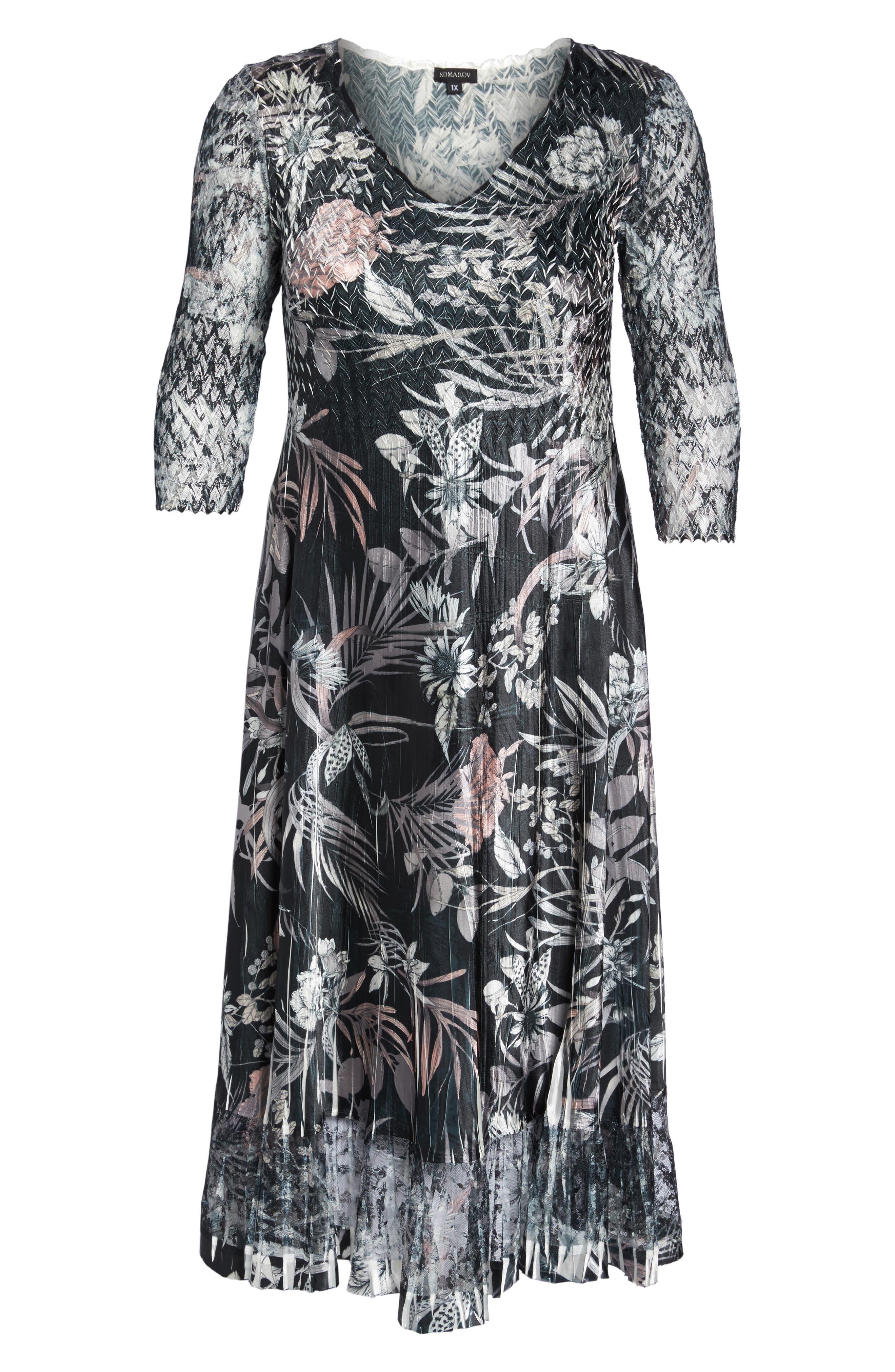 Floral Print Charmeuse Midi Dress,                             Alternate thumbnail 6, color,
