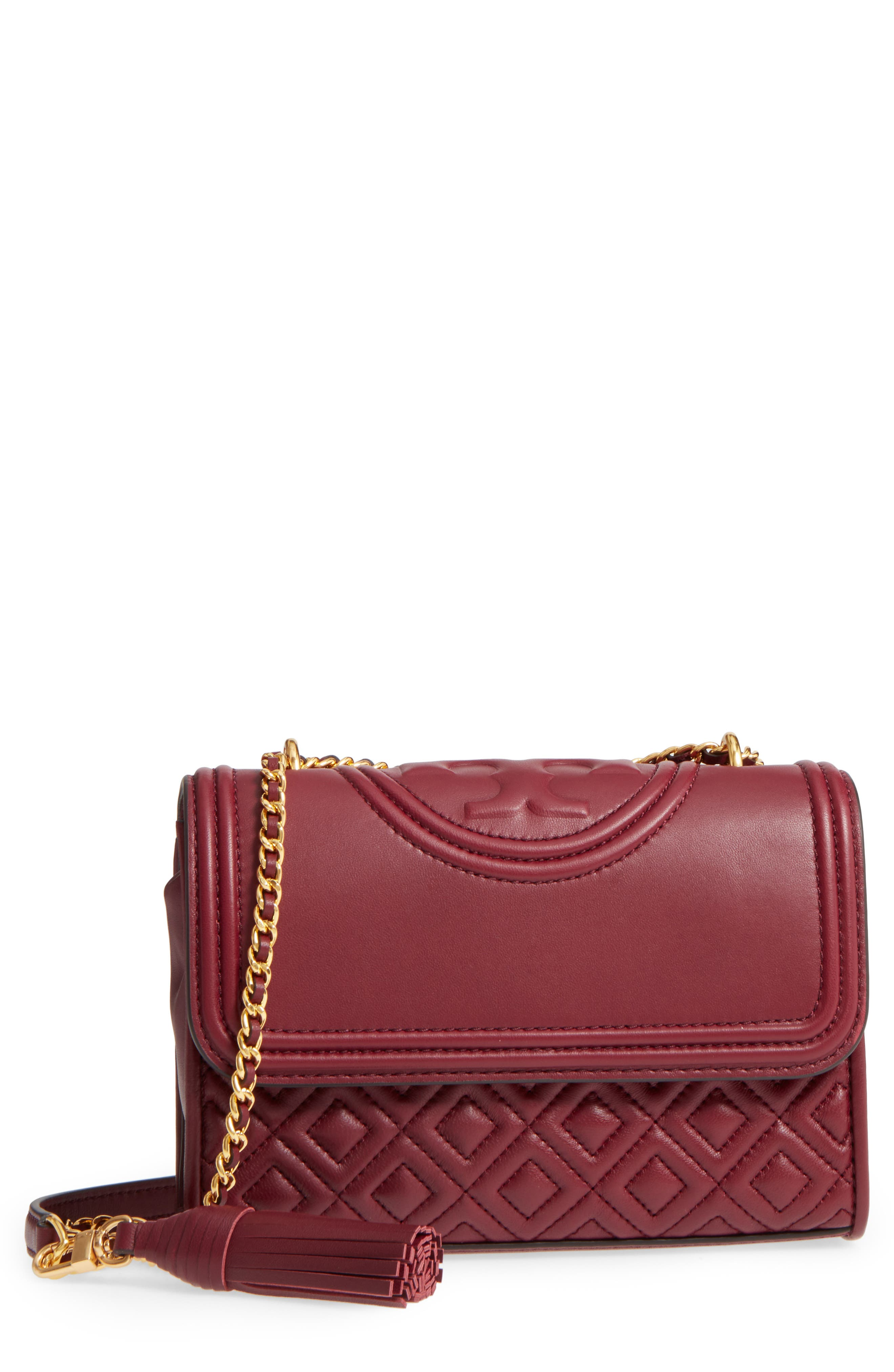 Small Fleming Leather Convertible Shoulder Bag,                         Main,                         color, IMPERIAL GARNET