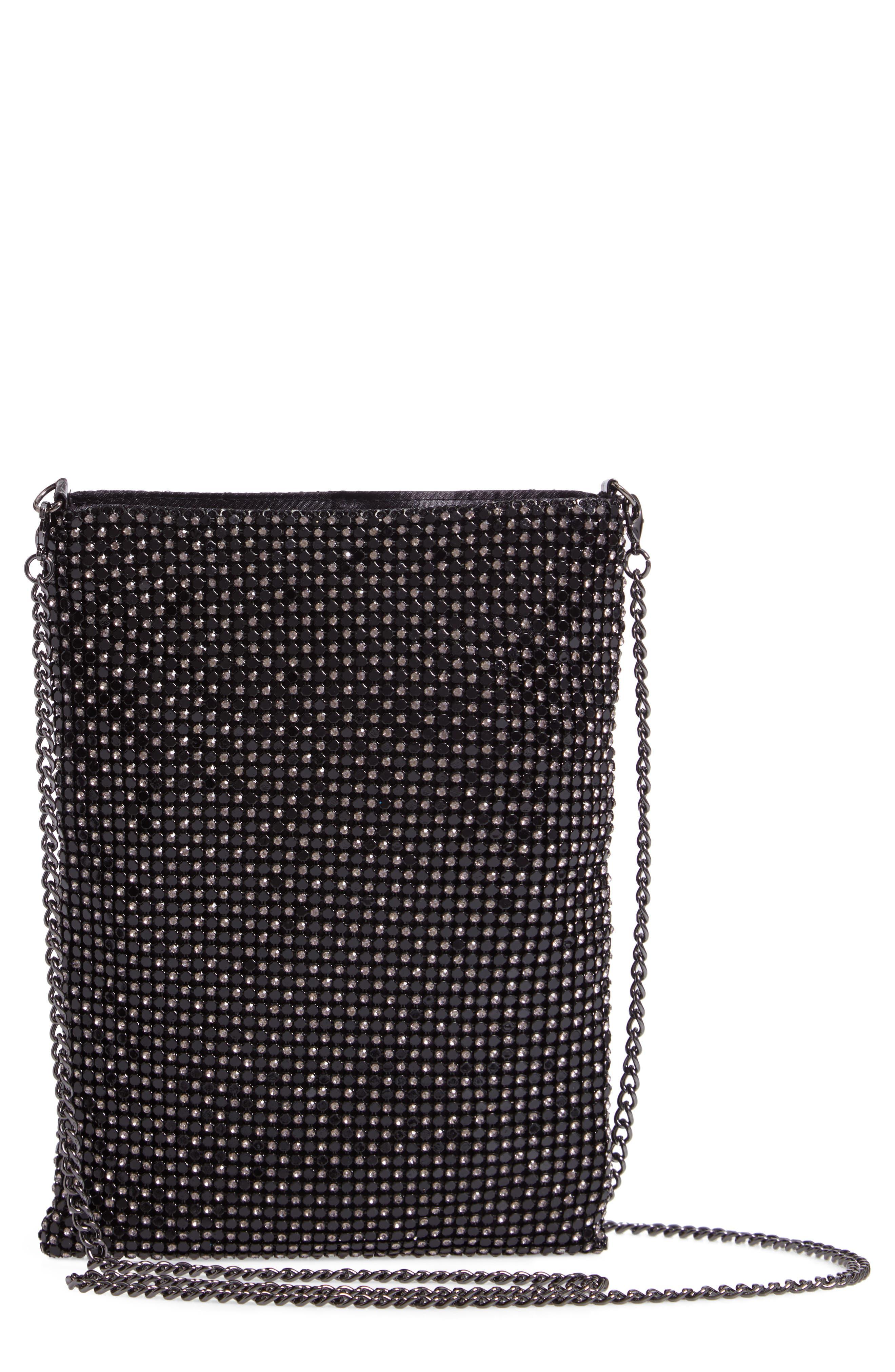 Crystal Mesh Crossbody Bag, Main, color, BLACK