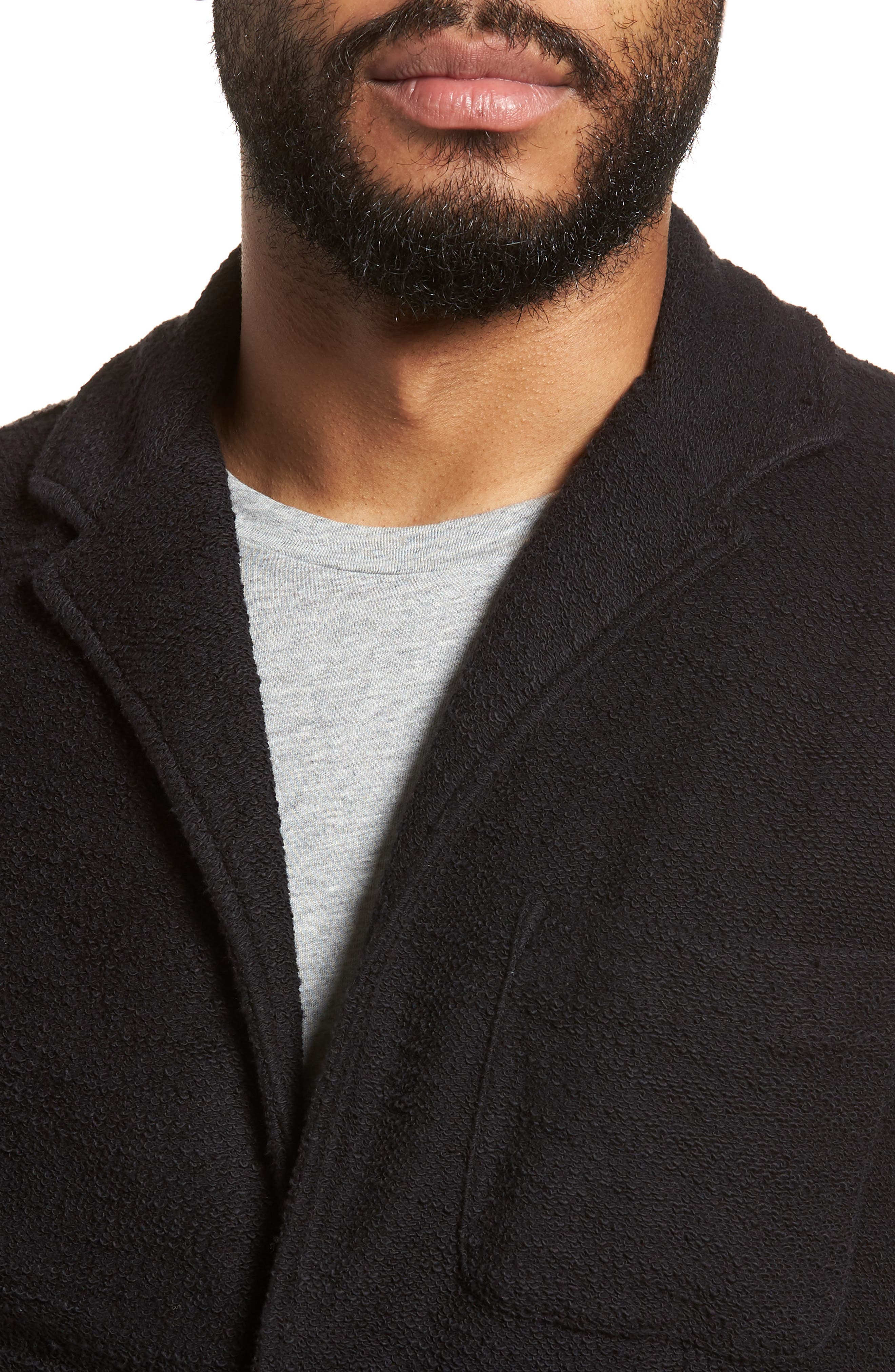 Terry Cloth Cotton Blend Blazer,                             Alternate thumbnail 4, color,                             001