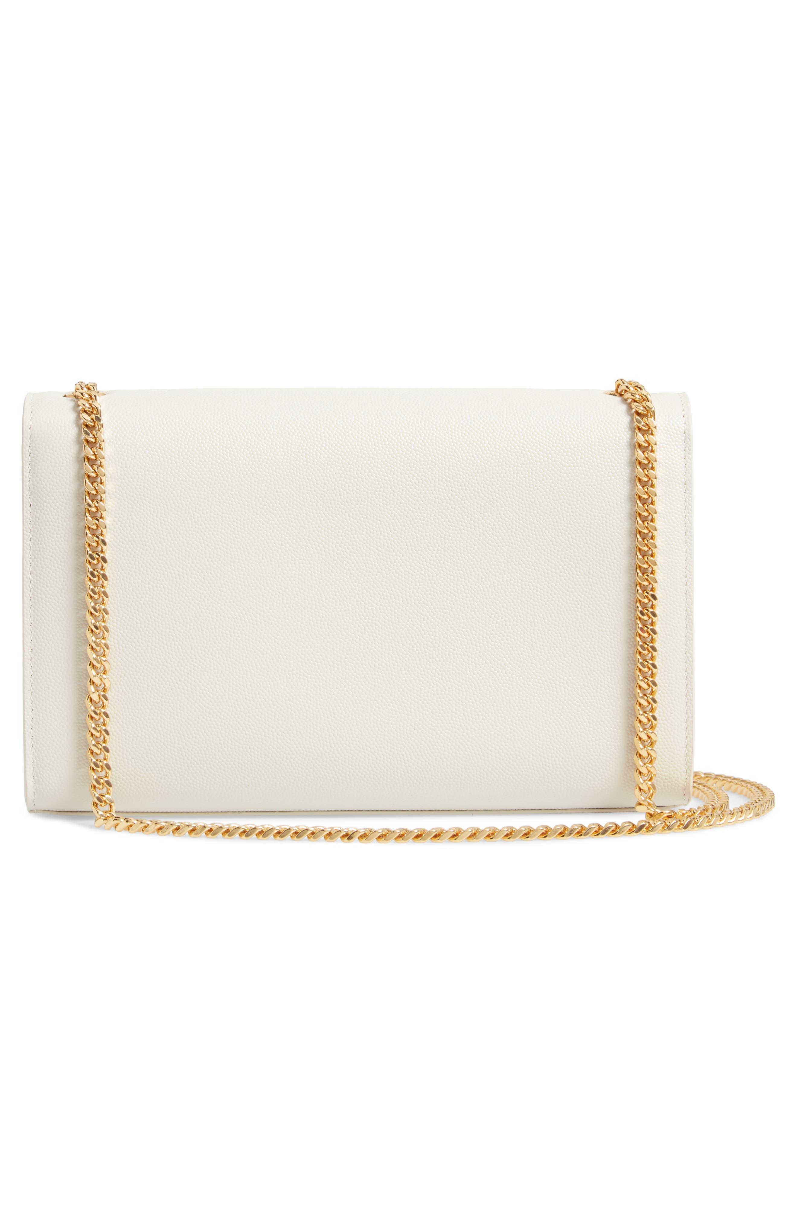 'Medium Kate' Leather Chain Shoulder Bag,                             Alternate thumbnail 3, color,                             CREMASOFT
