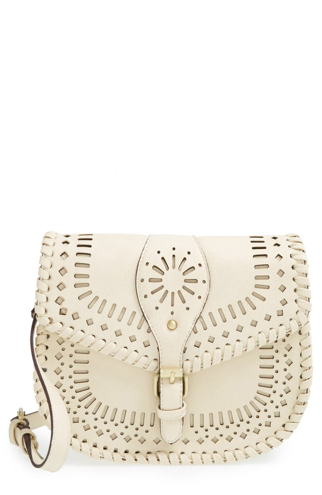 'Kianna' Perforated Faux Leather Crossbody Bag,                         Main,                         color, IVORY