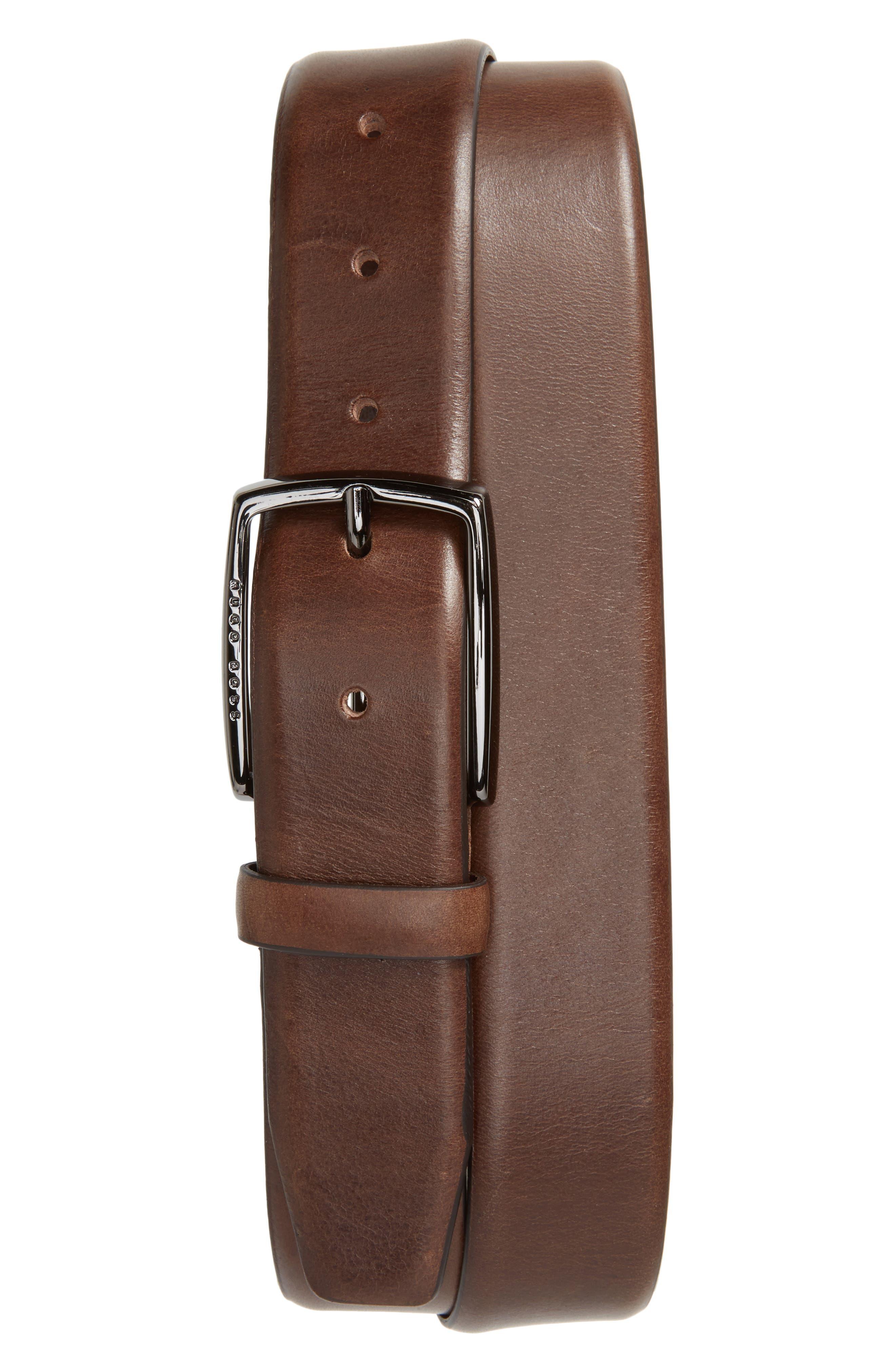 Celie Leather Belt,                             Main thumbnail 1, color,                             DARK BROWN