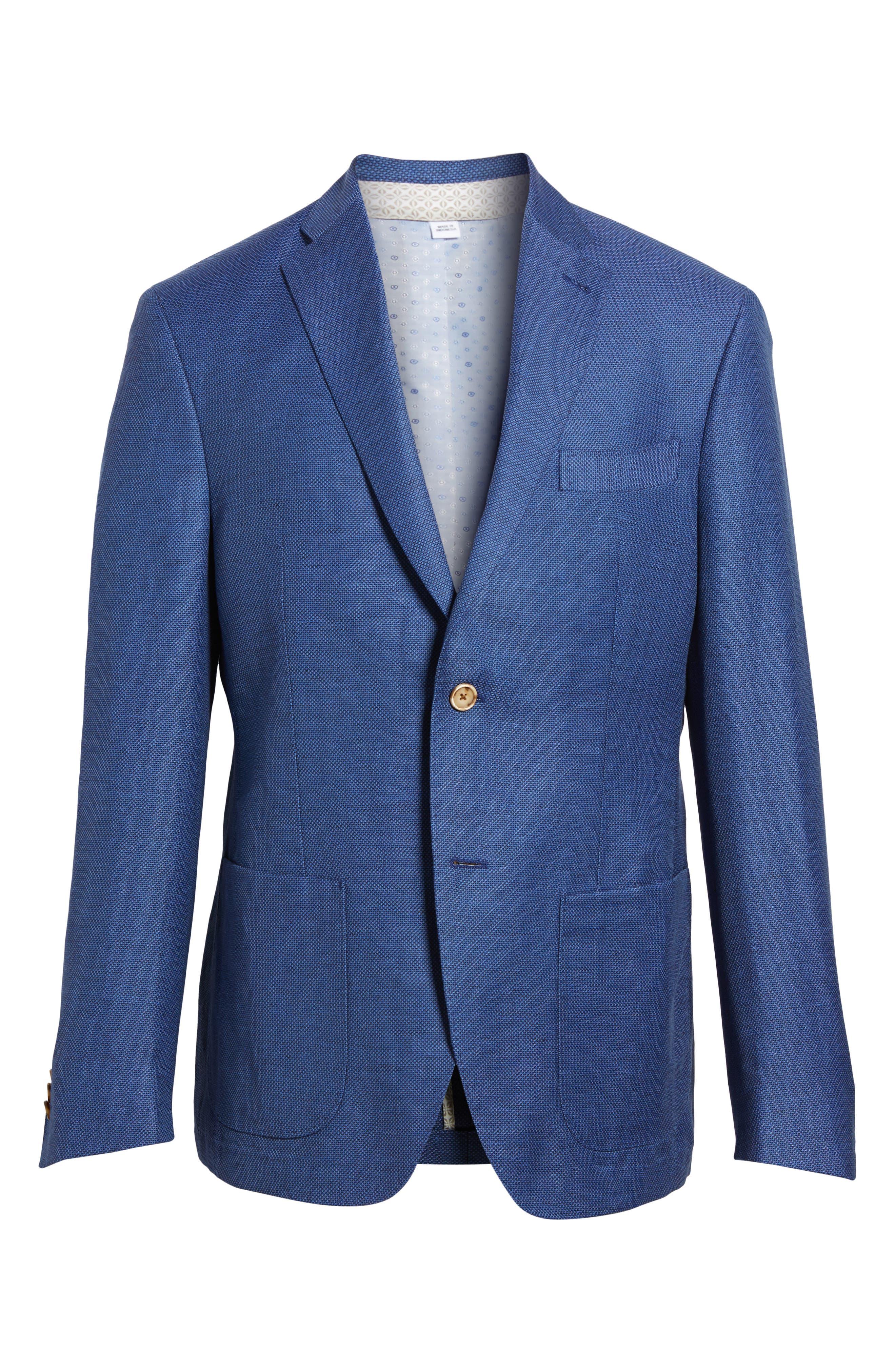 Trent Trim Fit Linen & Wool Blazer,                             Alternate thumbnail 5, color,