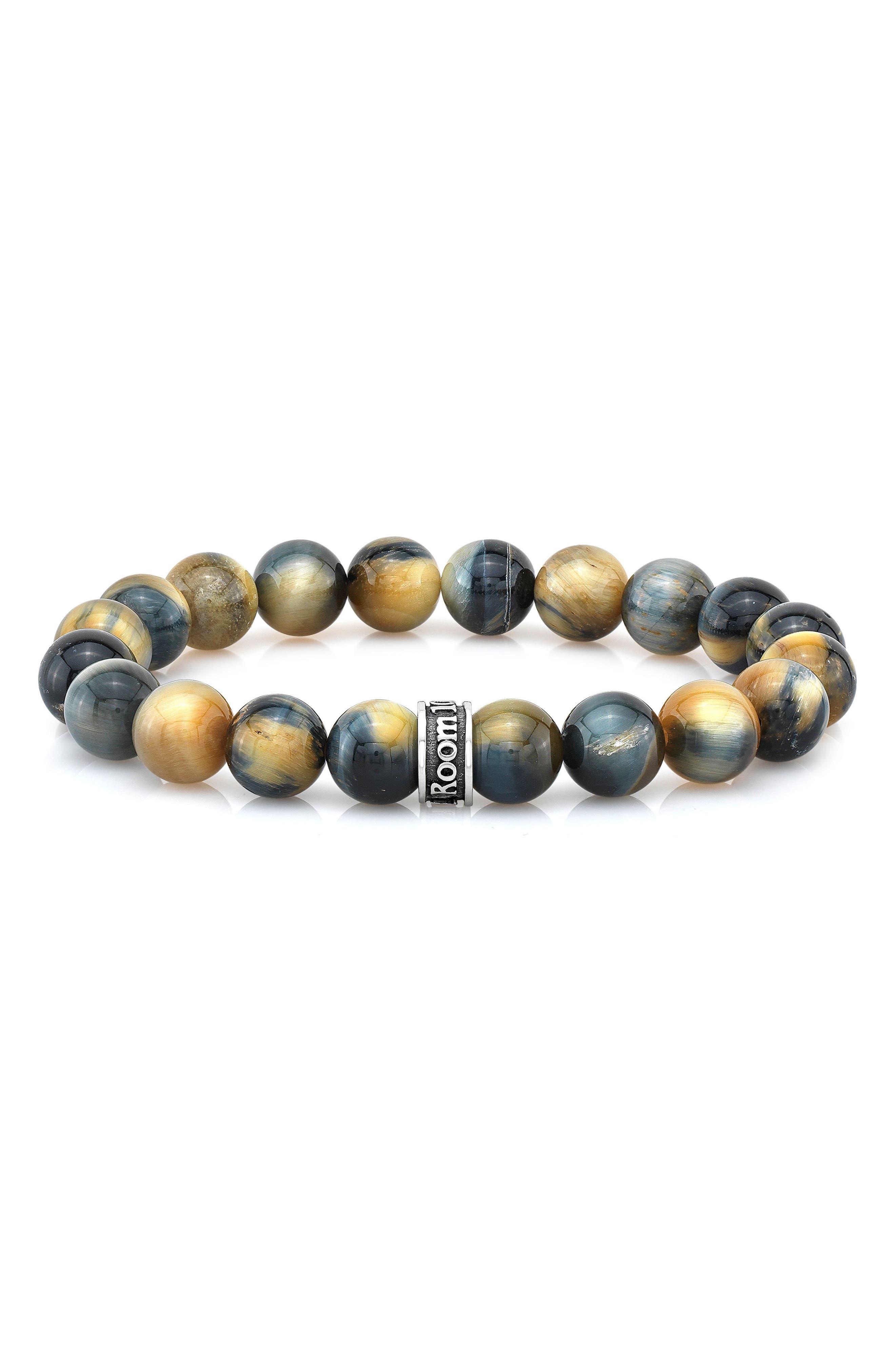 Tiger's Eye Bead Bracelet,                         Main,                         color, GREEN/ GOLD