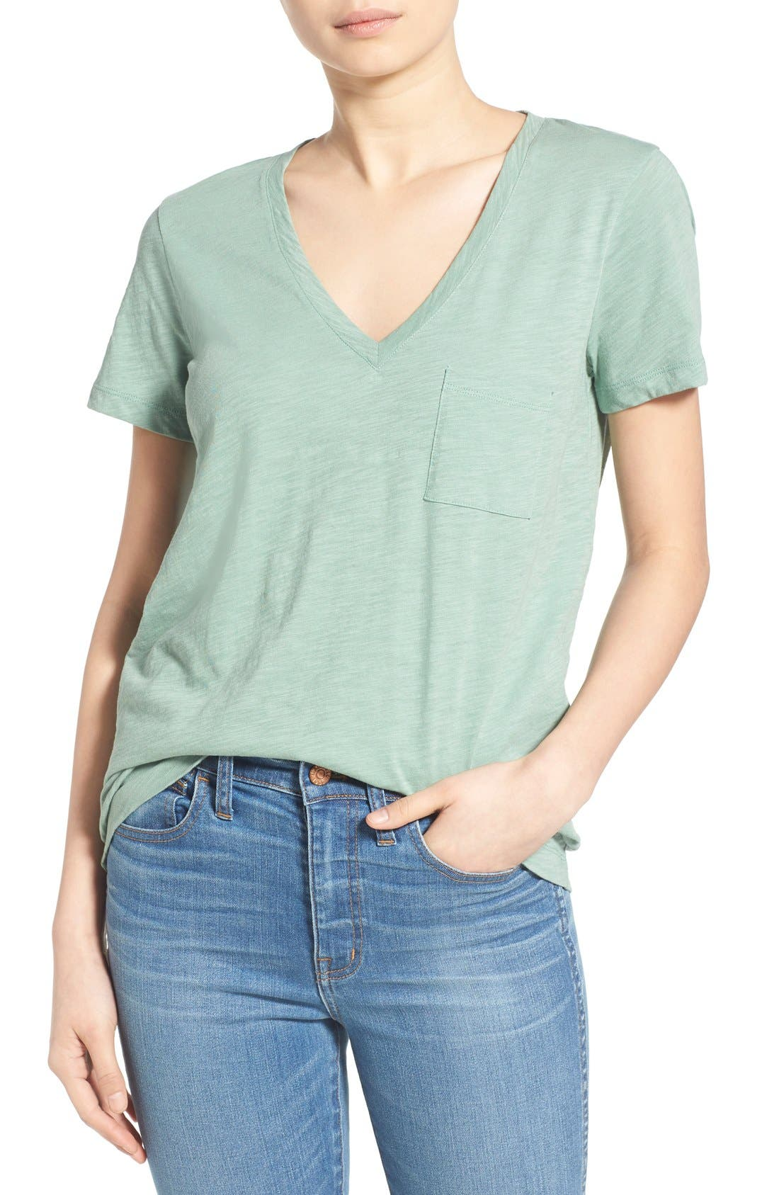 Whisper Cotton V-Neck Pocket Tee,                             Main thumbnail 18, color,