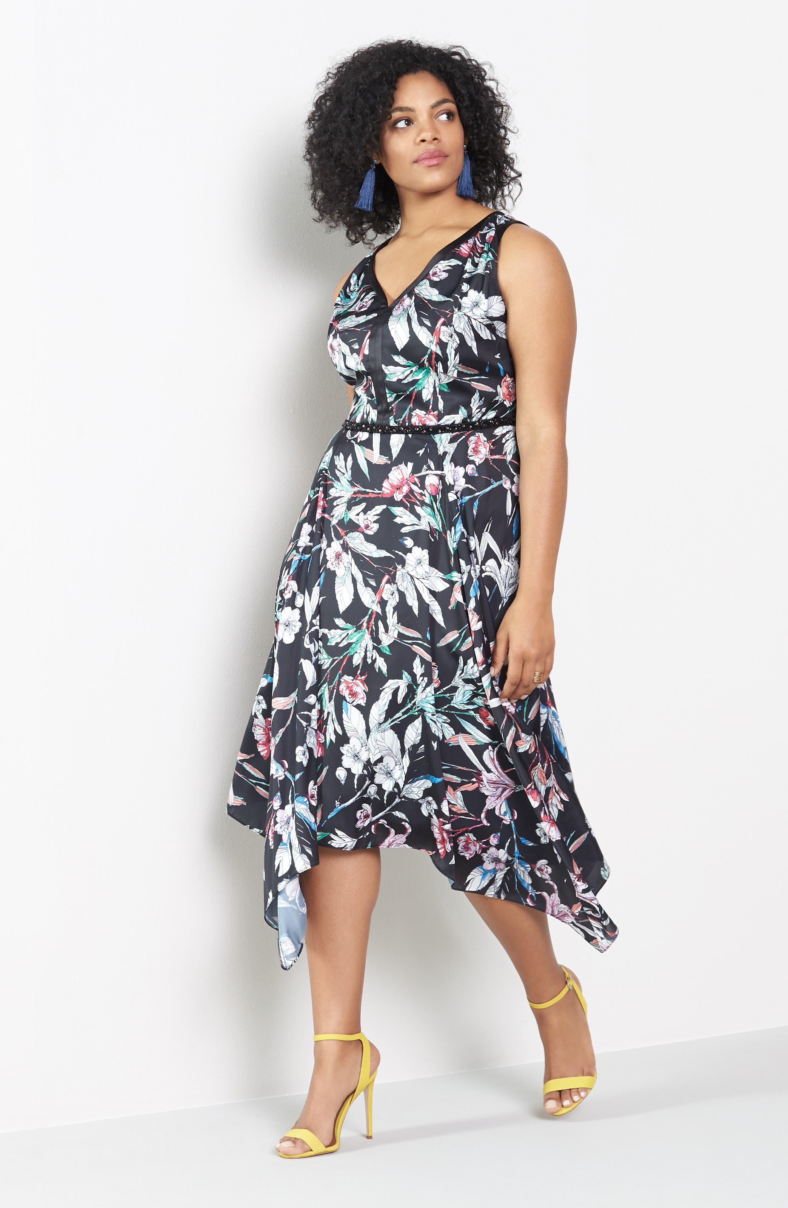 Print Satin Chiffon Handkerchief Dress,                             Alternate thumbnail 5, color,                             BLACK MULTI