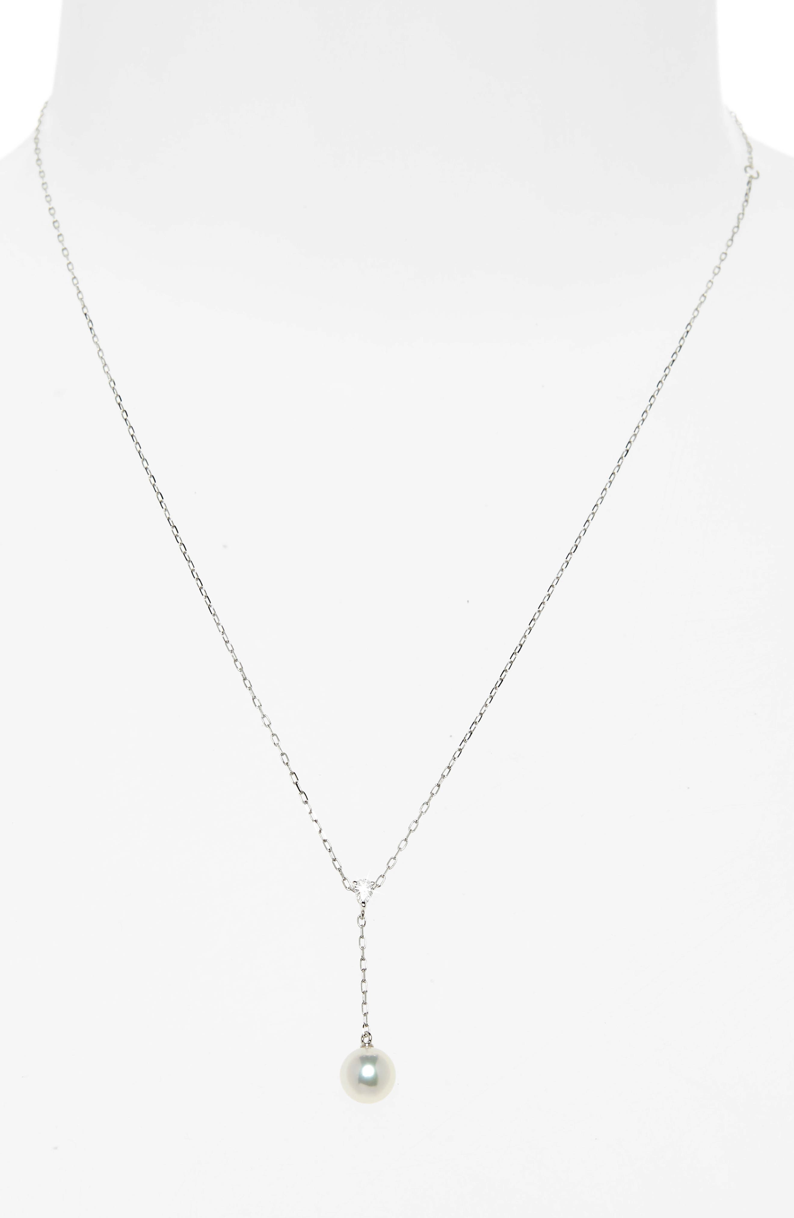 Pearl & Diamond Y-Drop Necklace,                             Alternate thumbnail 2, color,                             WHITE GOLD