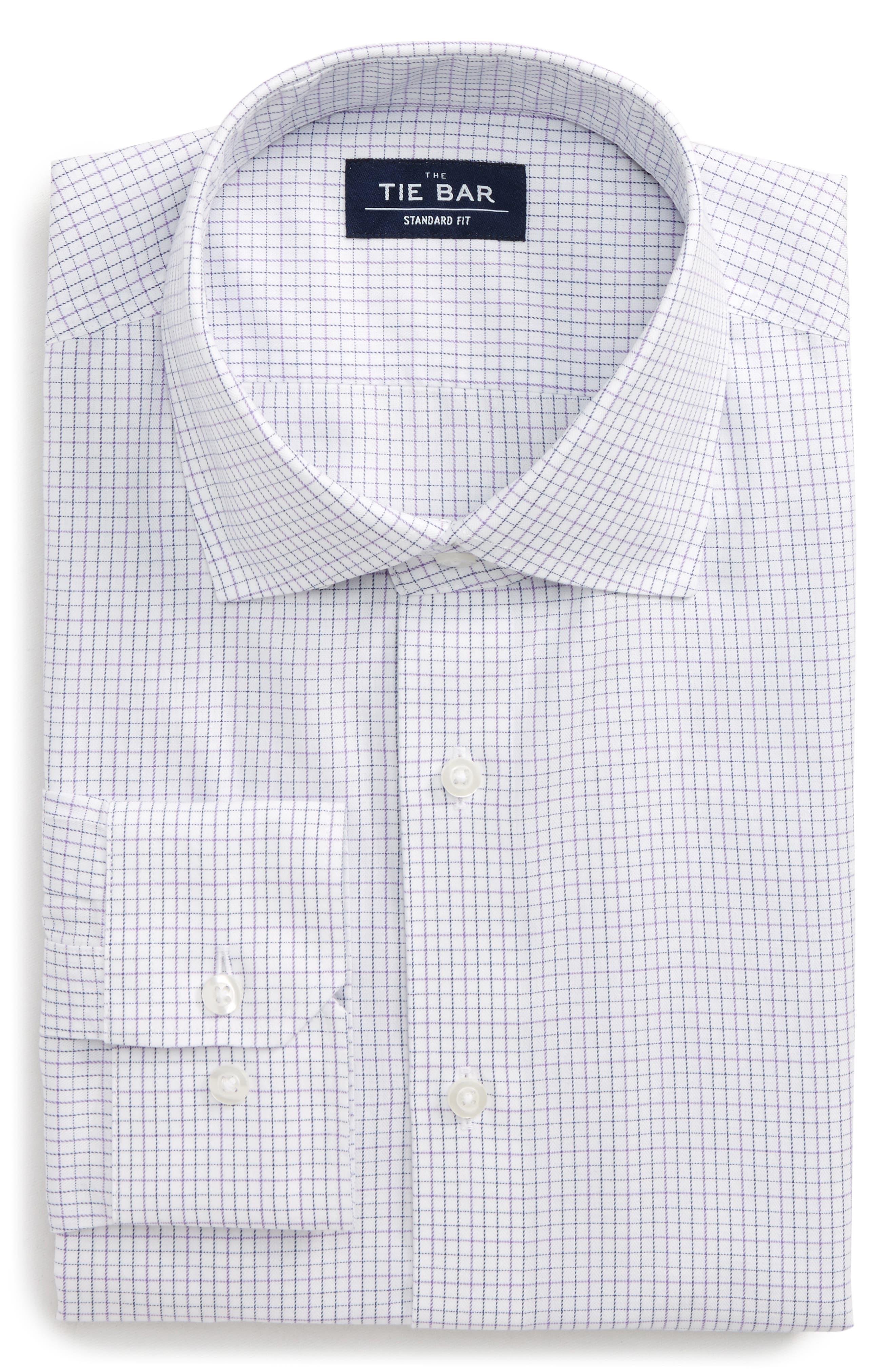 Standard Fit Check Dress Shirt,                         Main,                         color, PURPLE