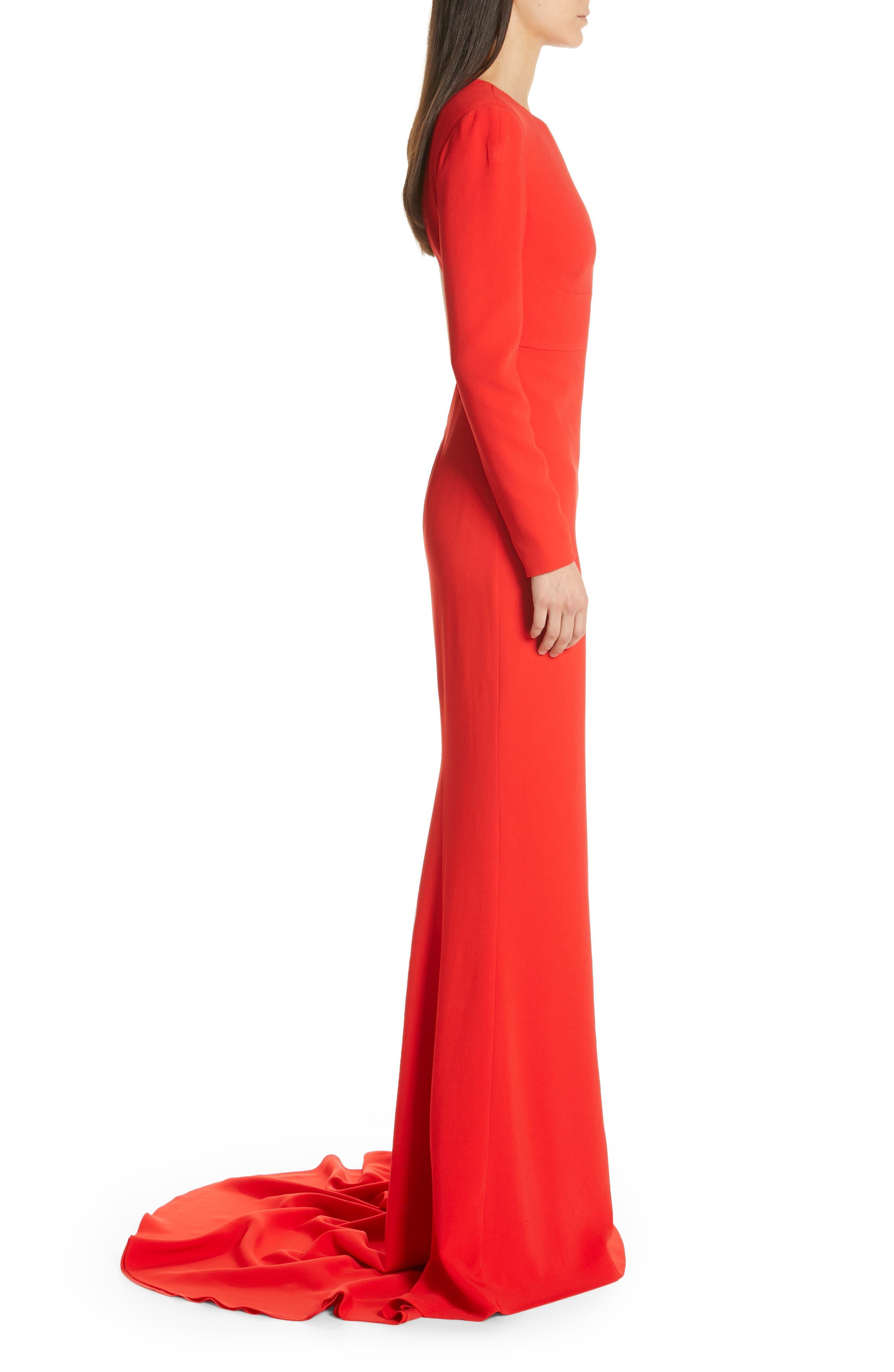Ruby Cutout Sheath Gown,                             Alternate thumbnail 3, color,                             SCARLET
