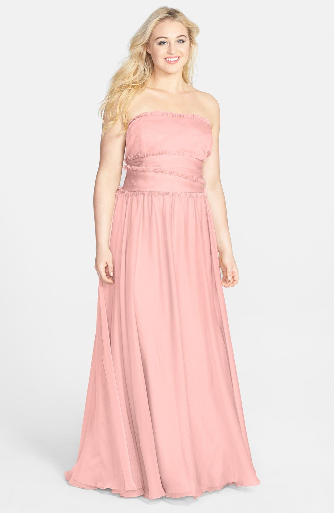 ML Monique Lhuillier Bridesmaids Strapless Chiffon Gown,                             Alternate thumbnail 32, color,