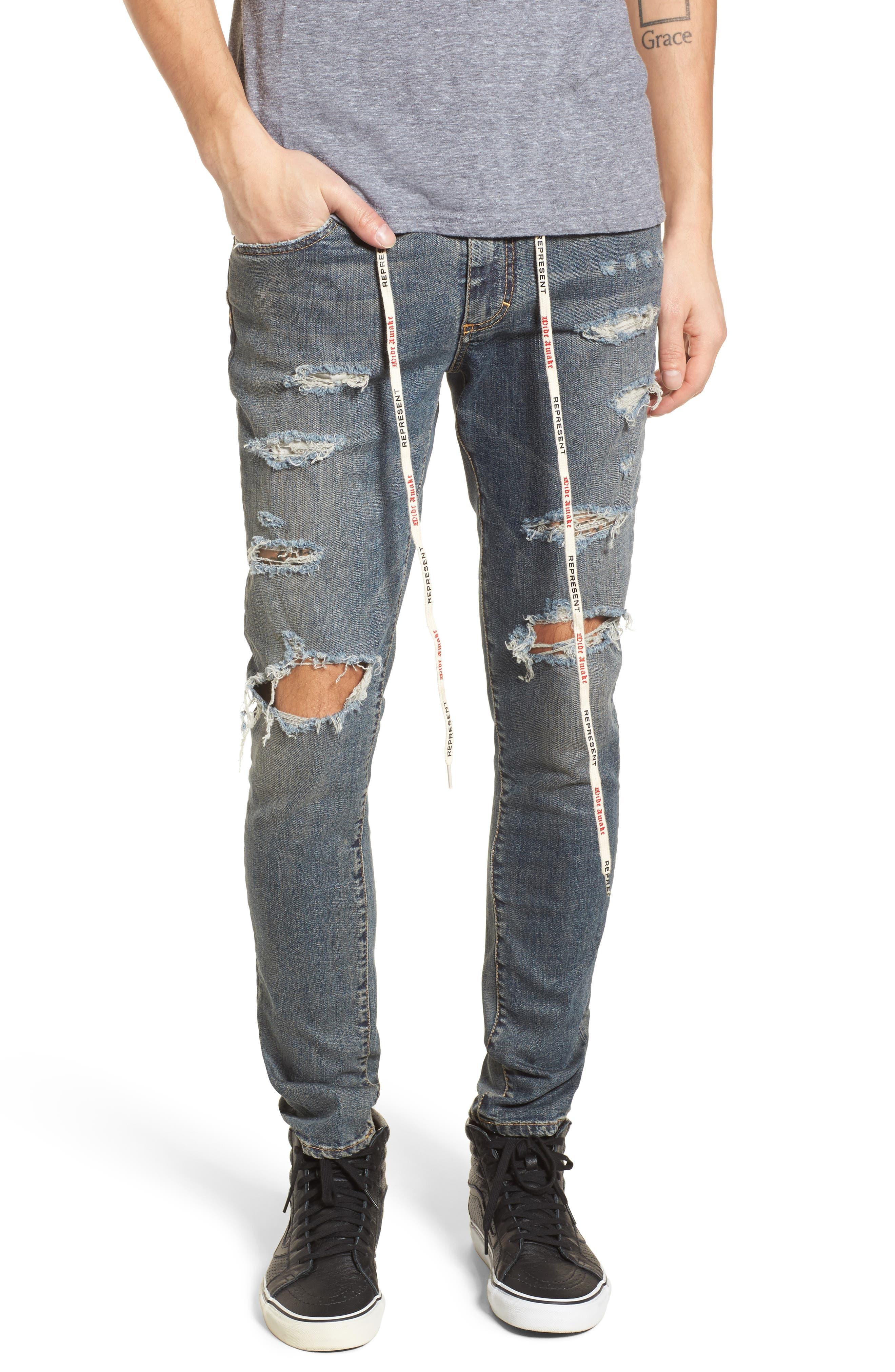 Repairer Slim Fit Denim Pants,                             Main thumbnail 1, color,                             ROCKSTAR BLUE