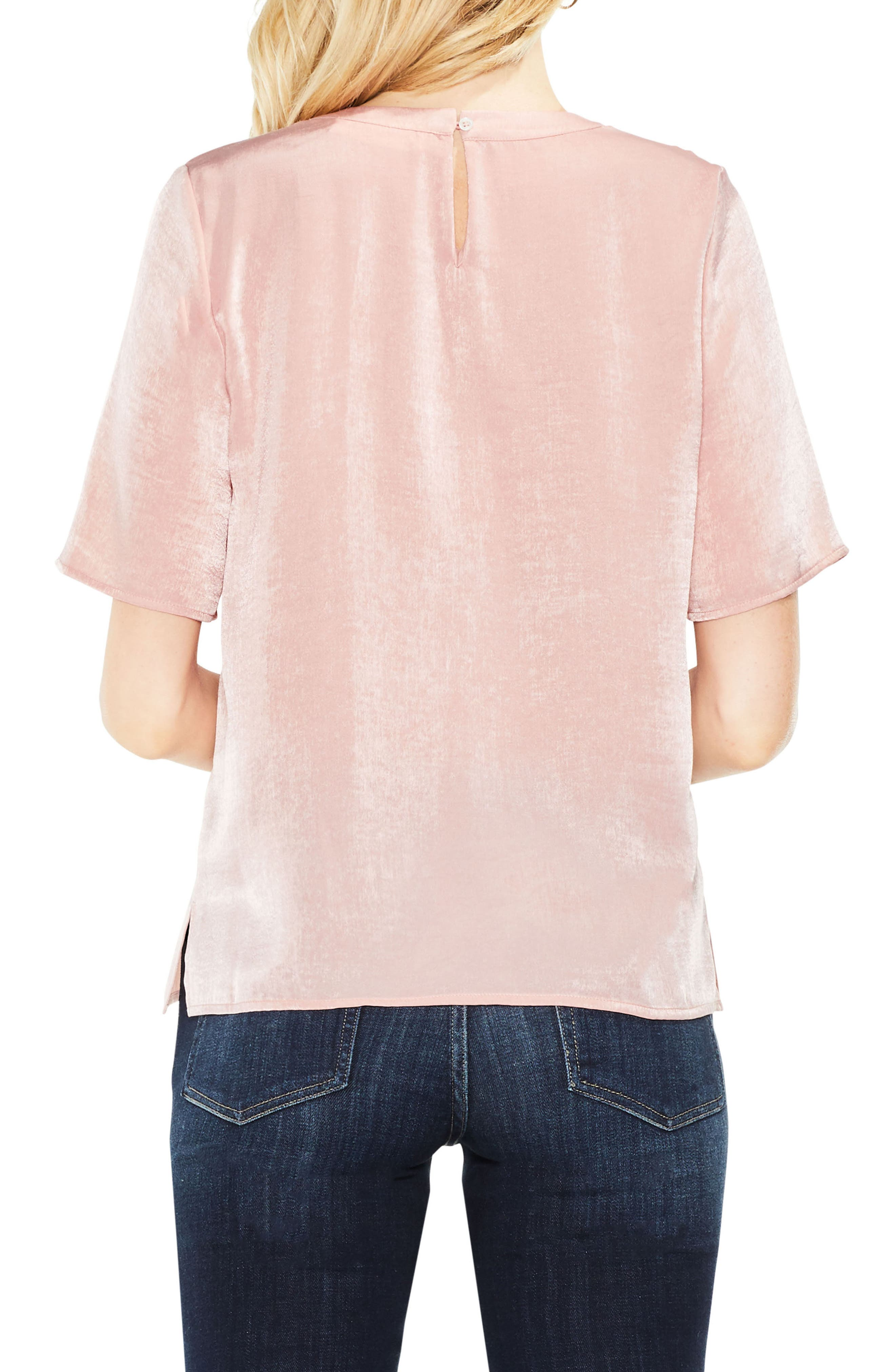 Satin Rumple Embroidered Top,                             Alternate thumbnail 4, color,