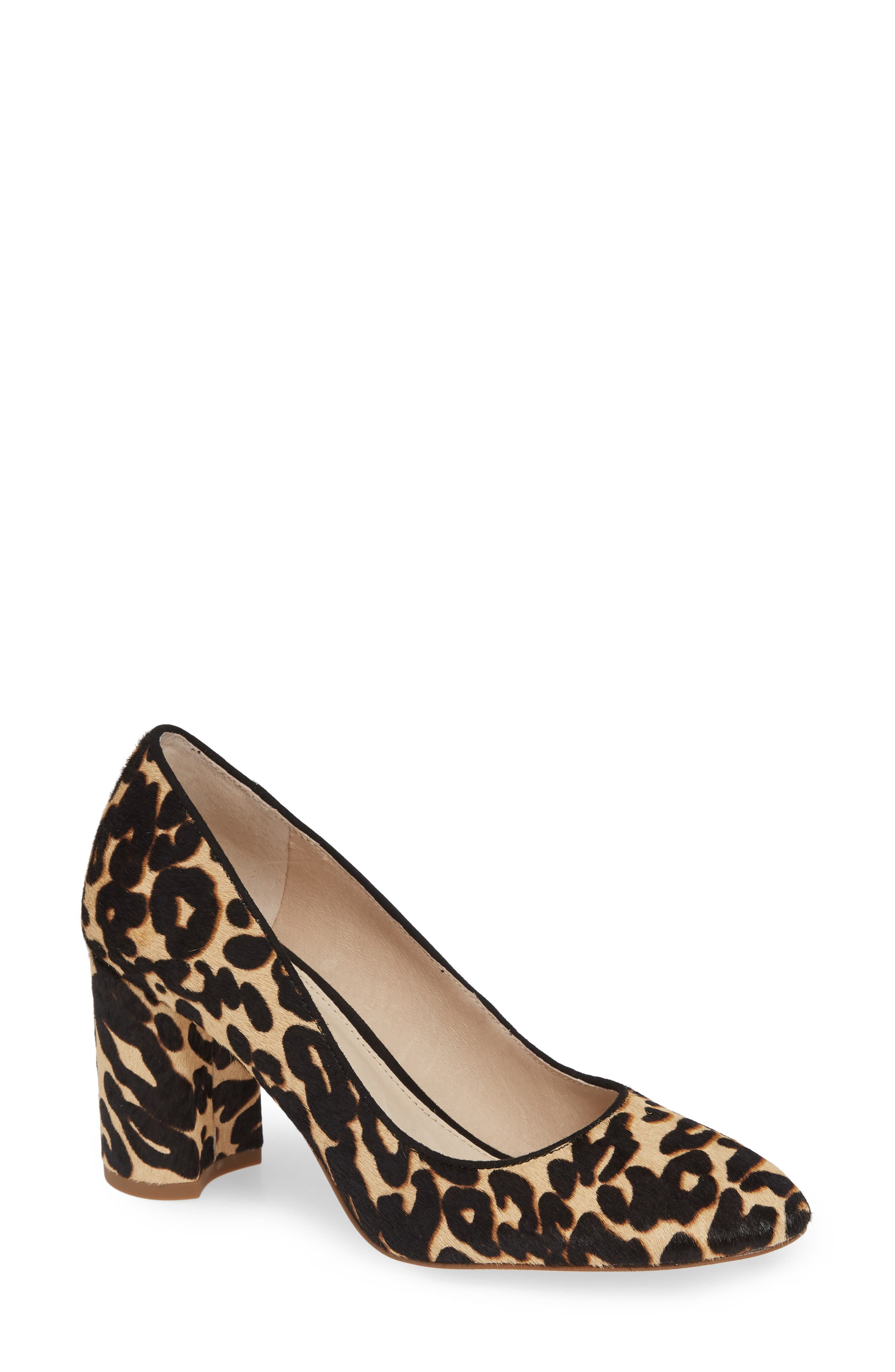 Jalzy Genuine Calf Hair Pump,                             Main thumbnail 1, color,                             LEOPARD