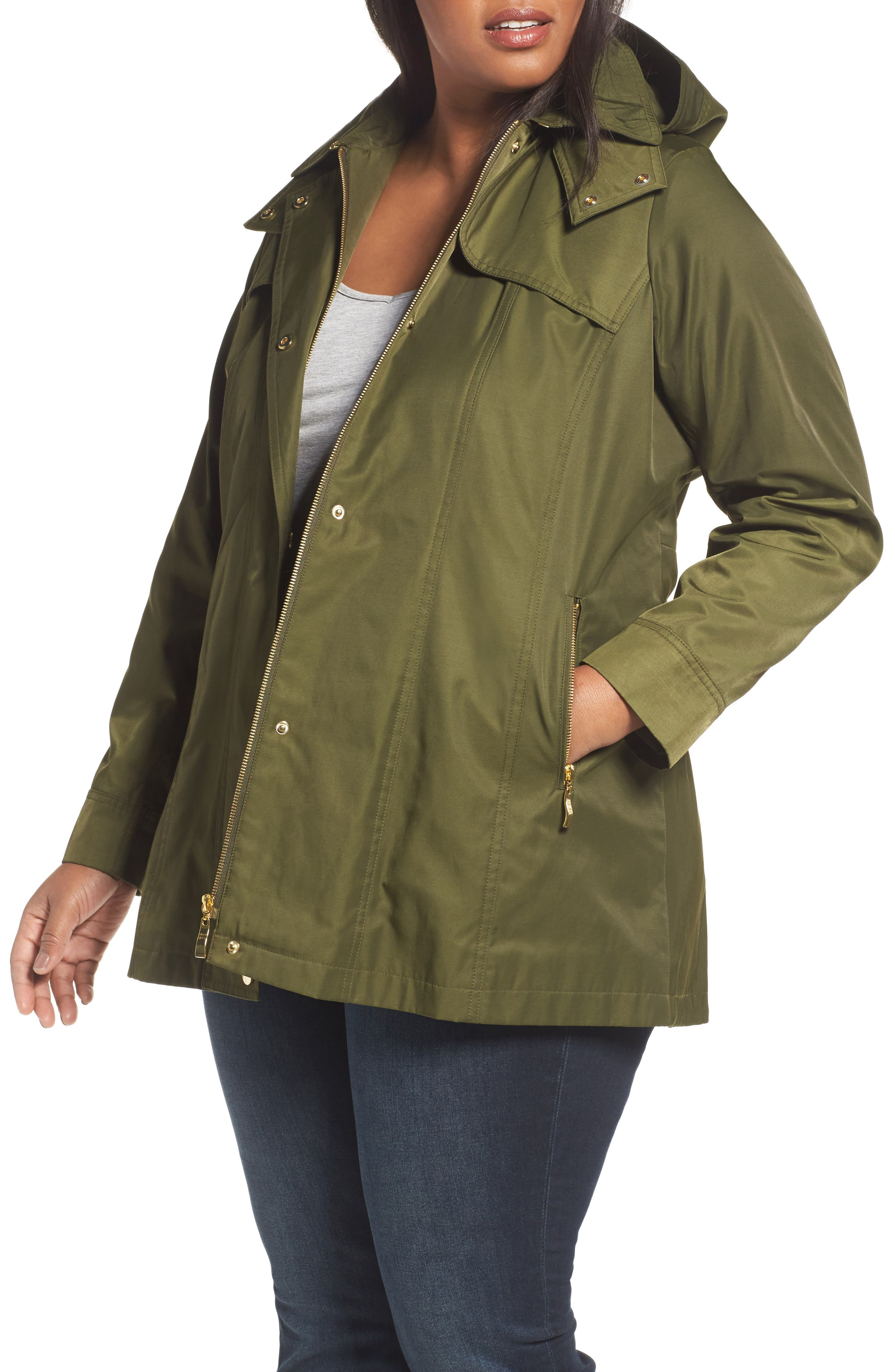 Packable Fit & Flare Raincoat,                         Main,                         color, OLIVE