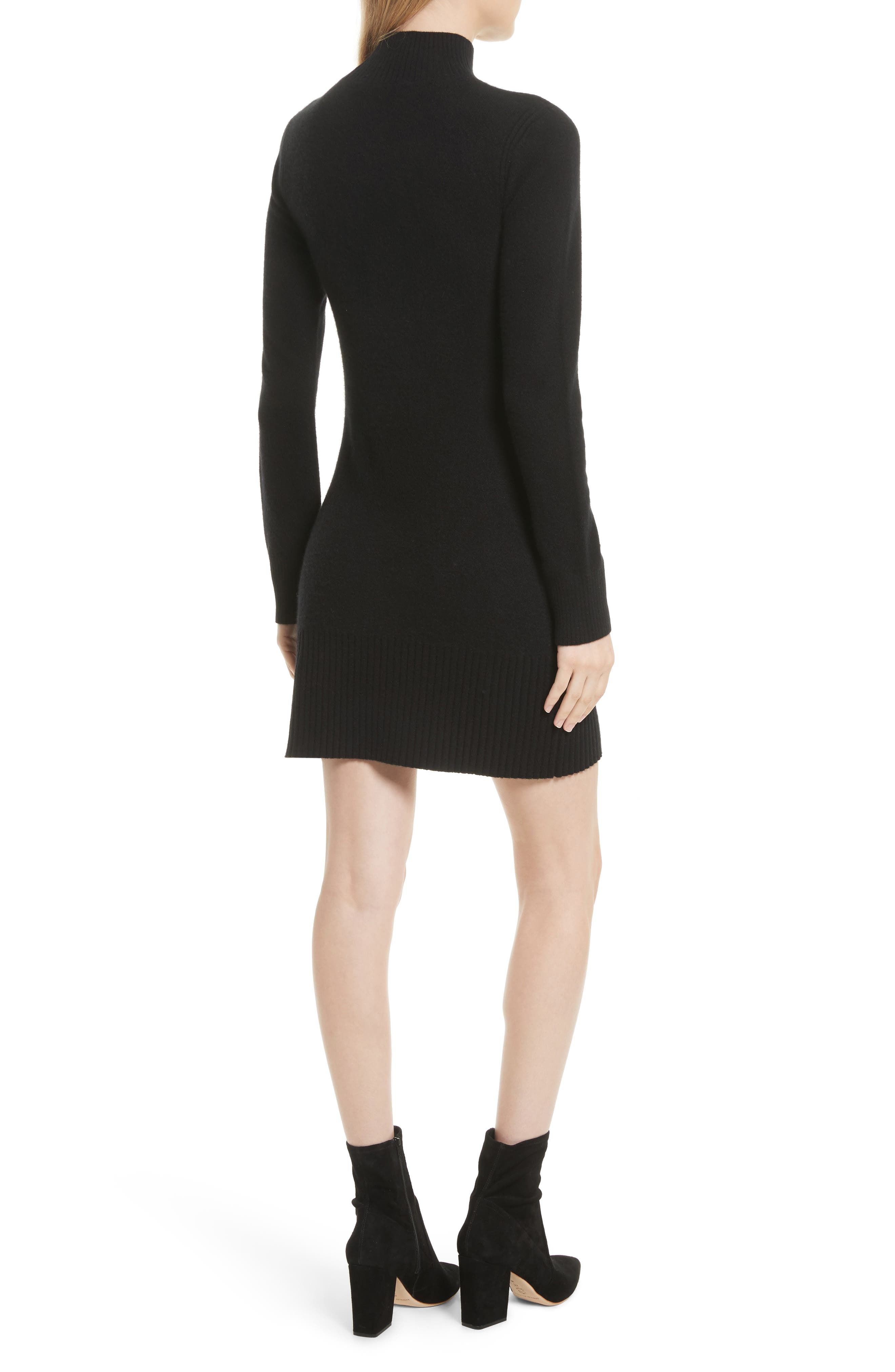 Turtleneck Cashmere Sweater Dress,                             Alternate thumbnail 2, color,                             001