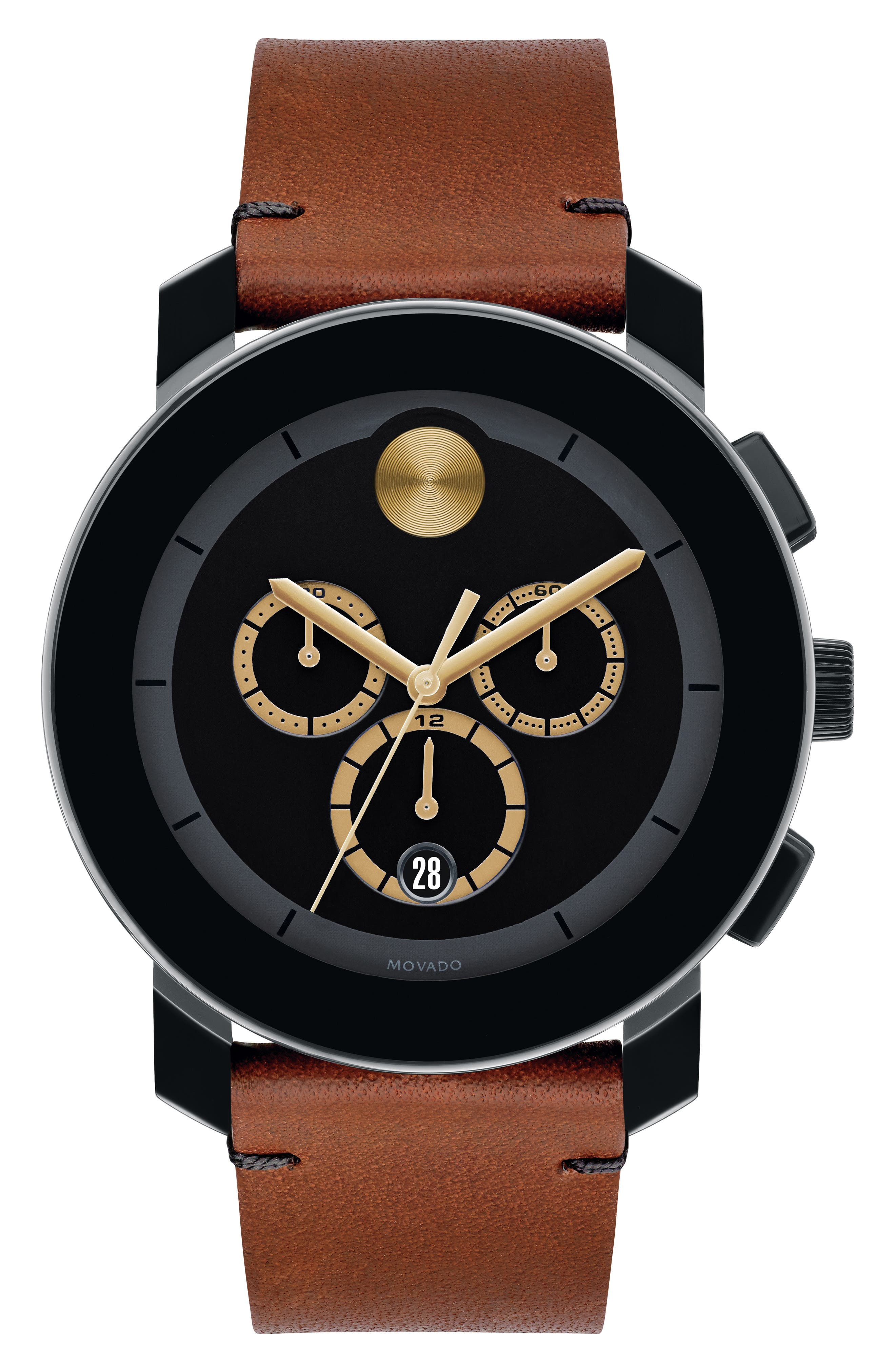 Bold Chrono Leather Strap Watch, 43mm,                         Main,                         color, COGNAC/ BLACK/ BLACK