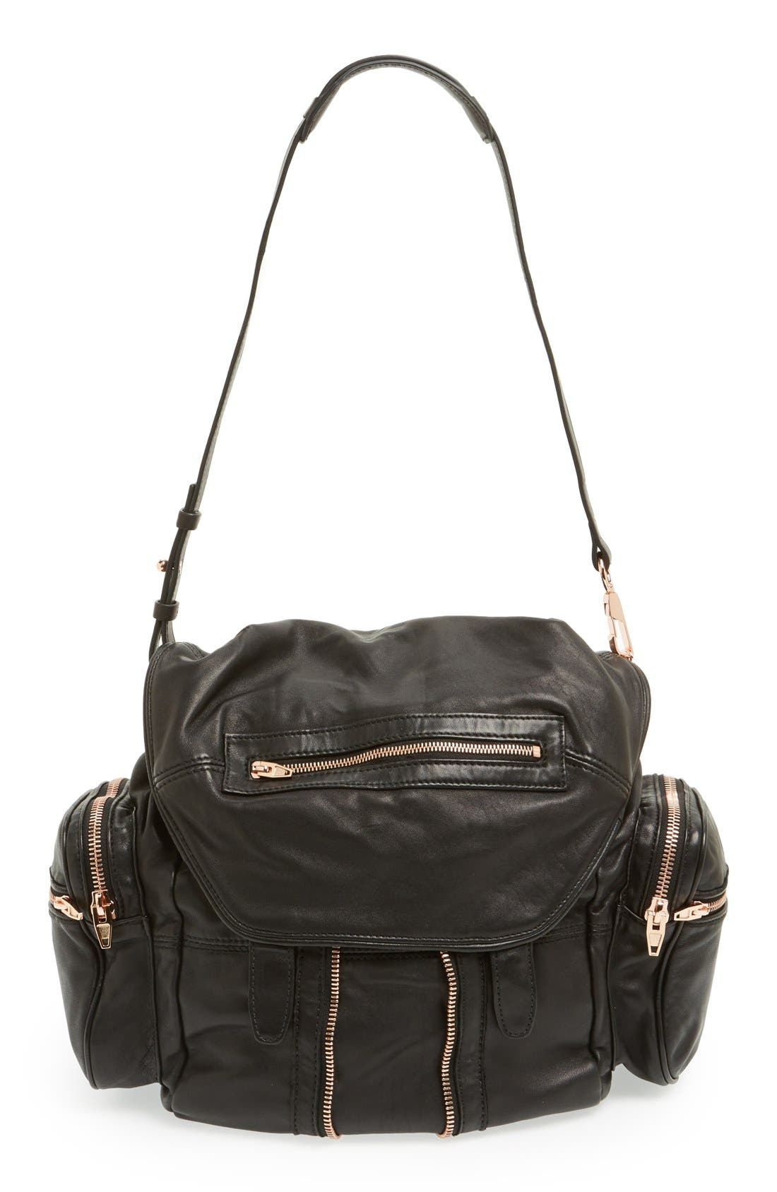 'Marti - Rose Gold' Leather Backpack,                         Main,                         color, 001