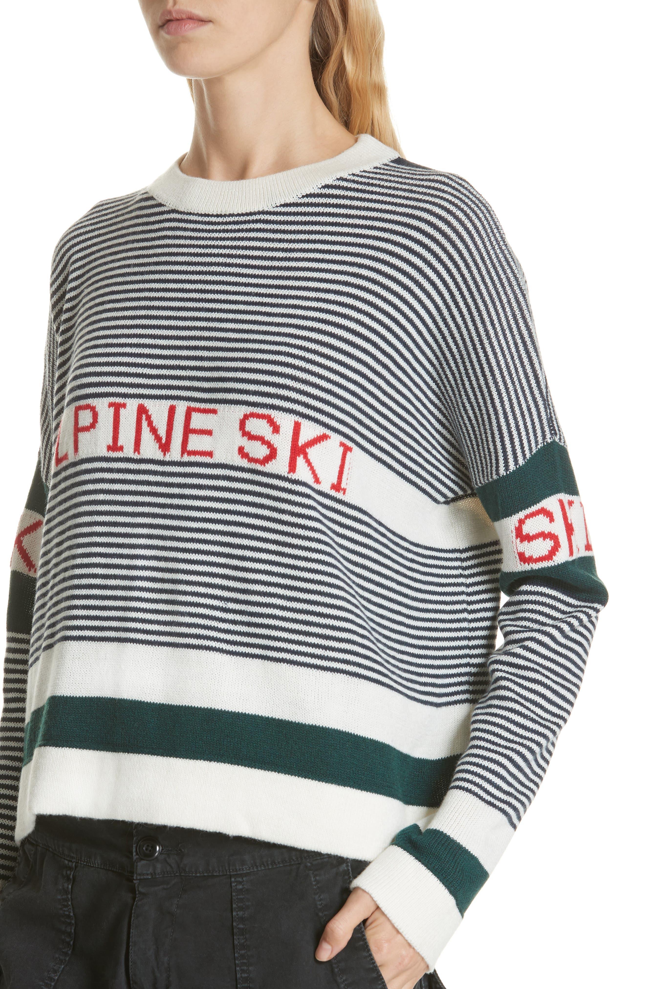 Alpine Ski Sweater,                             Alternate thumbnail 4, color,                             MULTI STRIPE