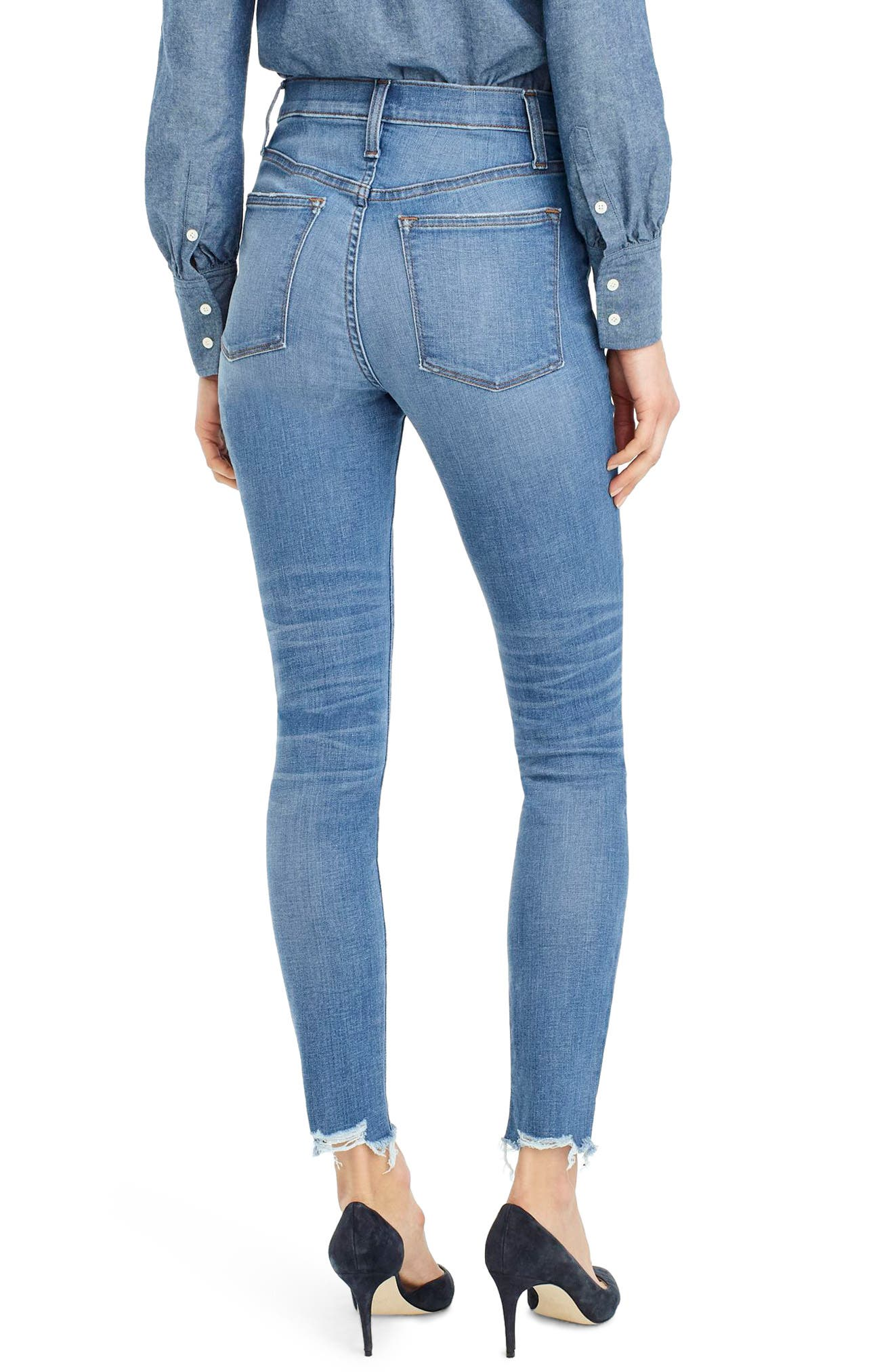 High Rise Cut Hem Toothpick Jeans,                             Alternate thumbnail 2, color,                             400