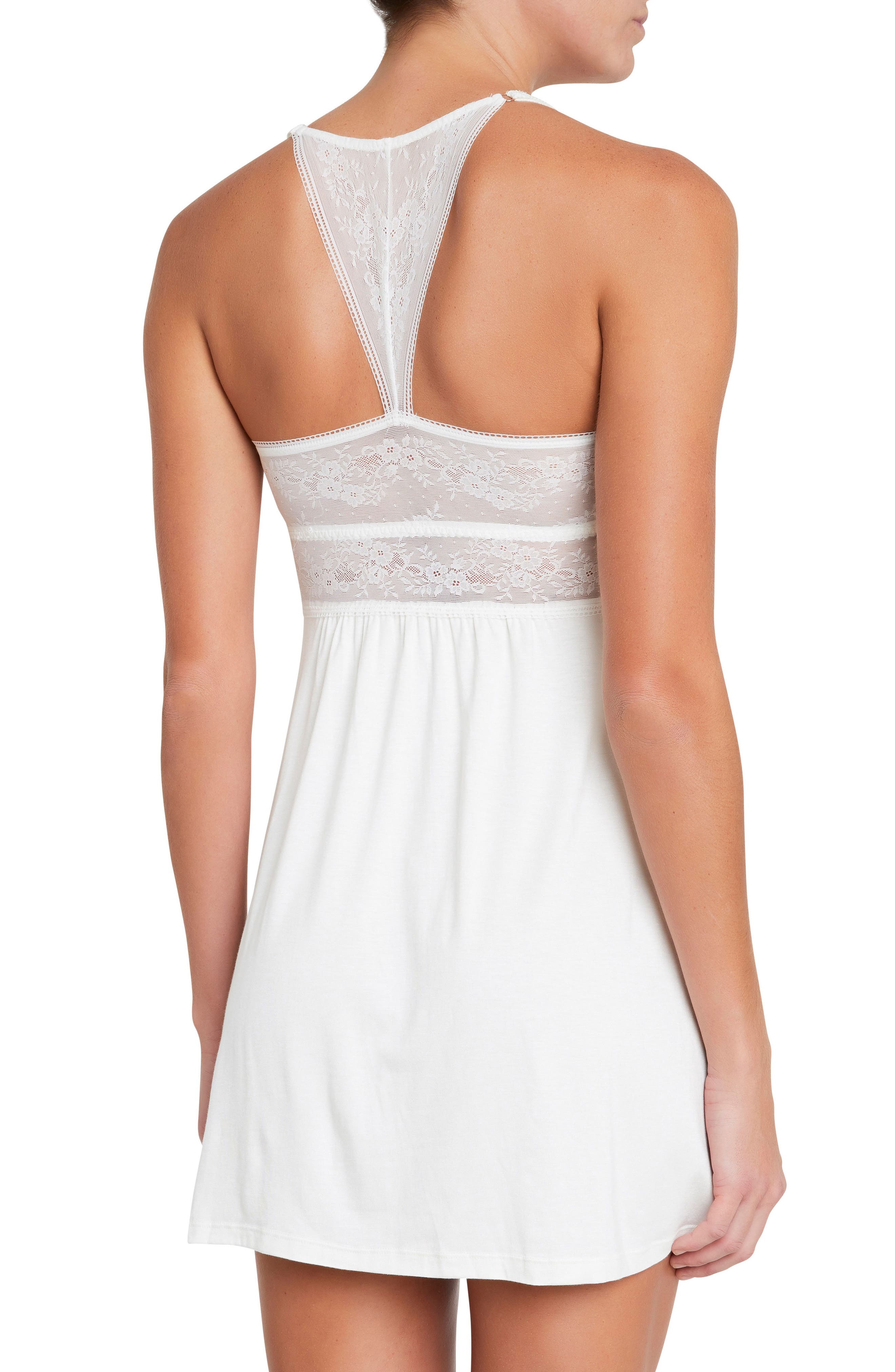 Adora the Adjustable Racerback Chemise,                             Alternate thumbnail 2, color,                             IVORY
