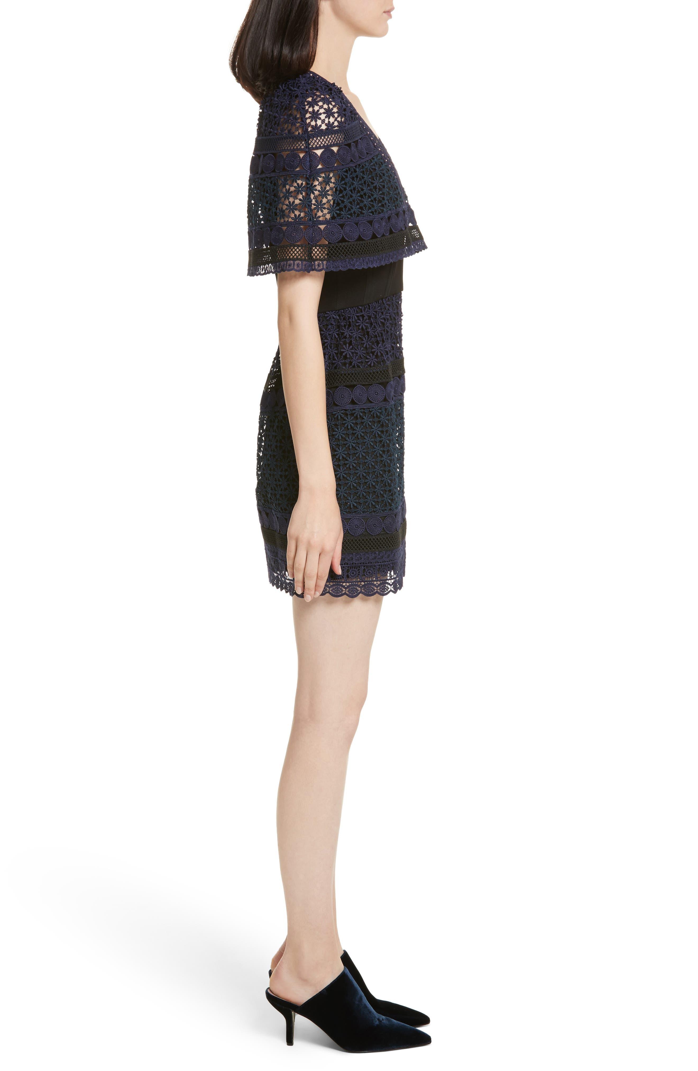 Guipure Lace Cape Dress,                             Alternate thumbnail 3, color,                             400
