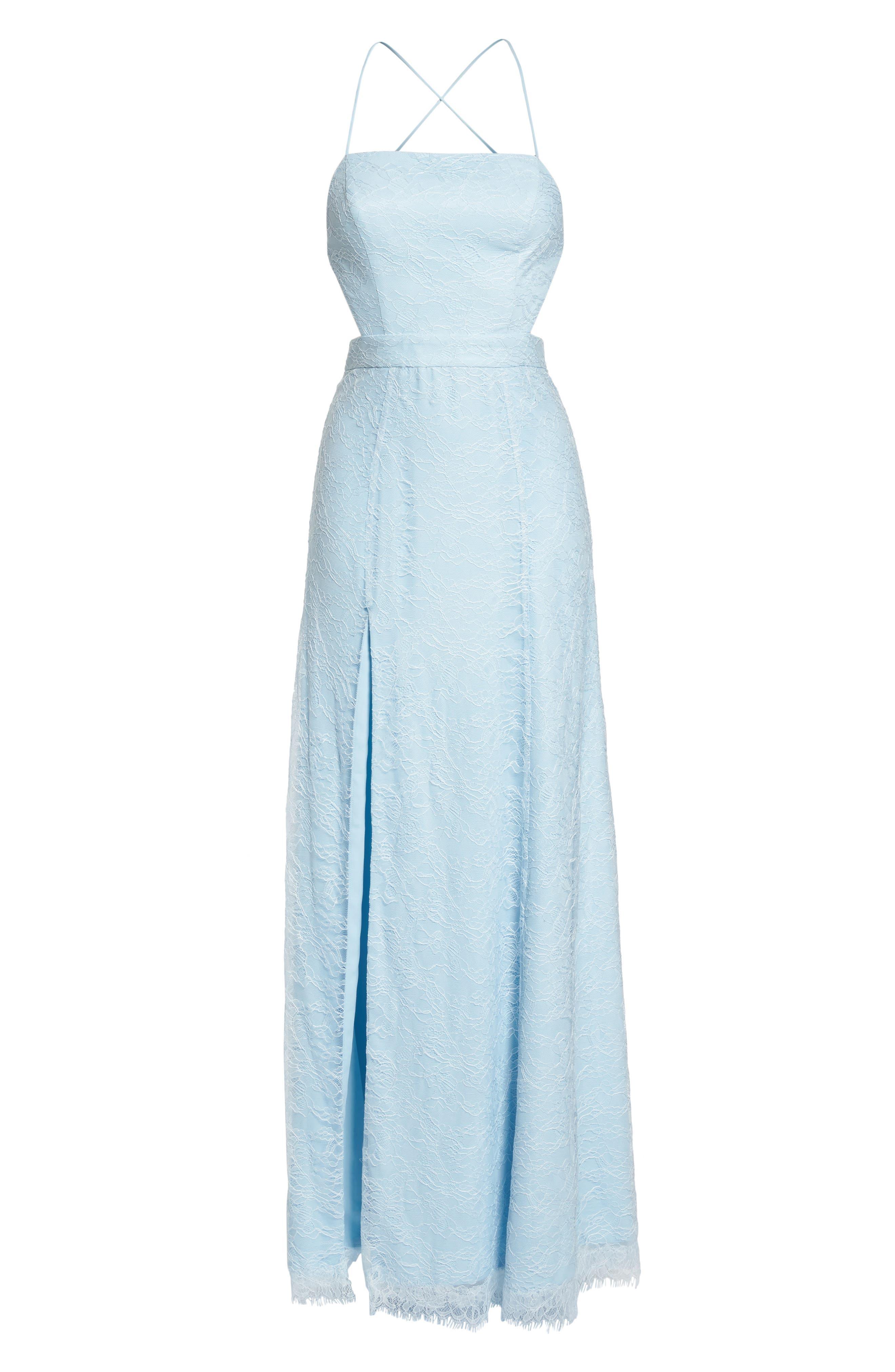 The Adella Lace Gown,                             Alternate thumbnail 7, color,                             PALE BLUE