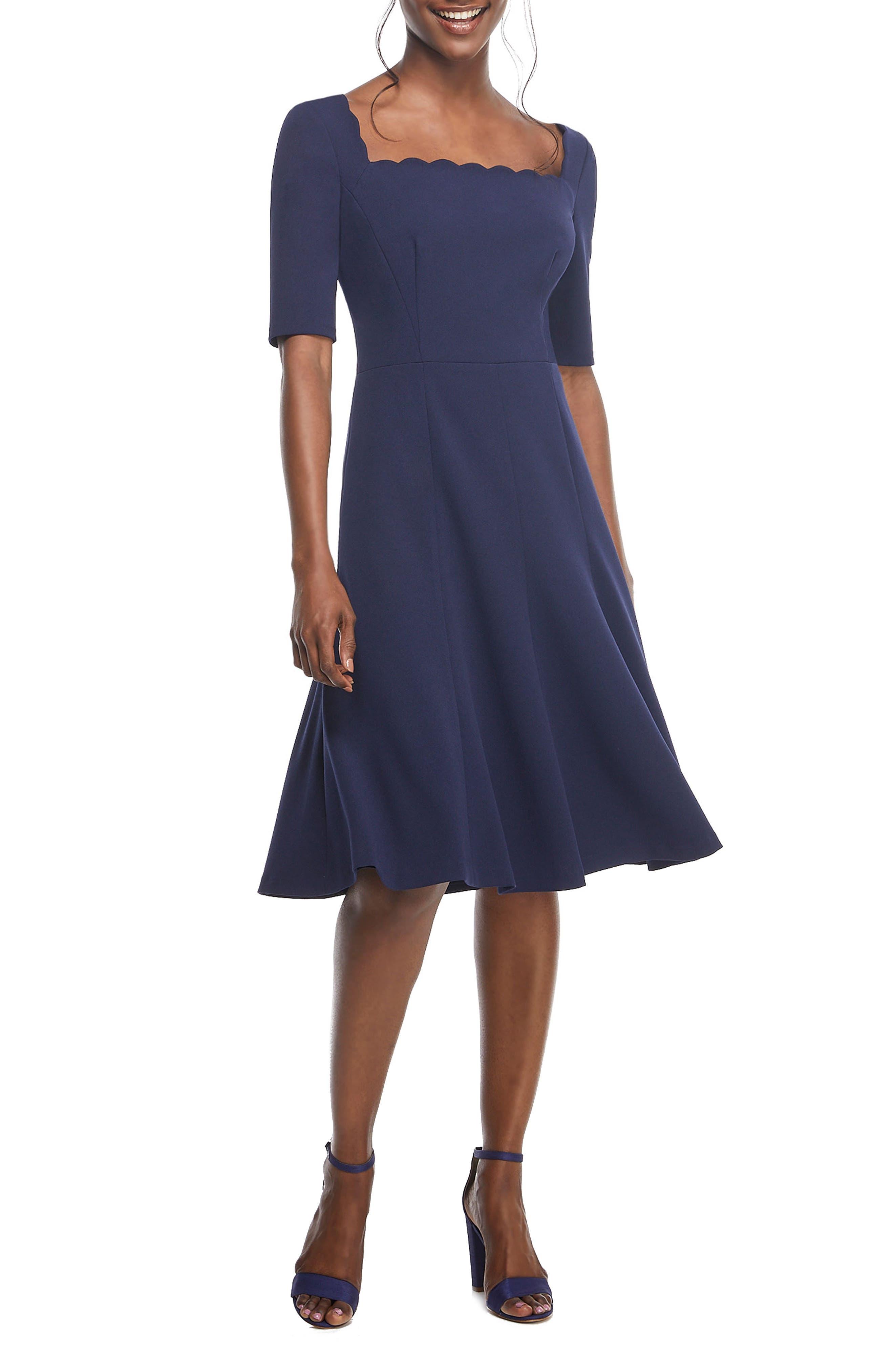 Plus Size Vintage Dresses, Plus Size Retro Dresses Womens Gal Meets Glam Collection Maria Scallop Scuba Crepe Fit  Flare Dress $94.80 AT vintagedancer.com