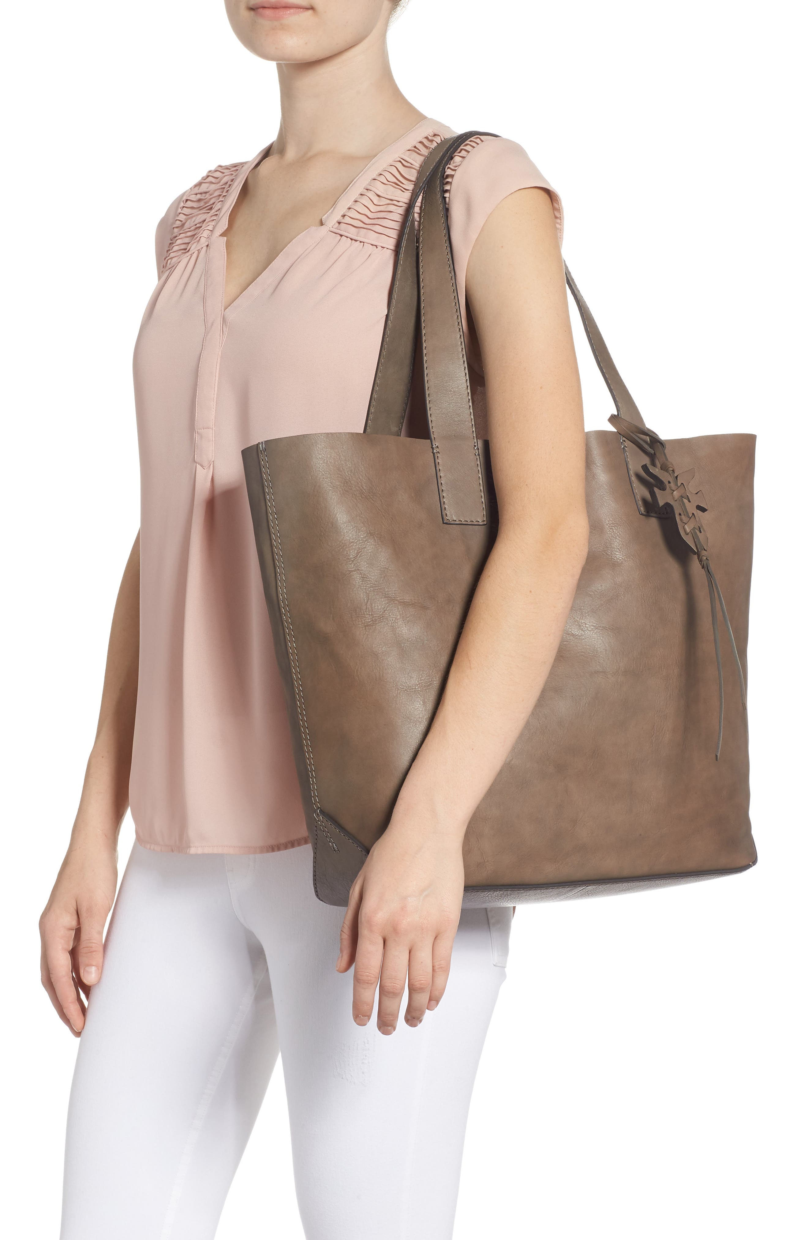 Carson Leather Tote,                             Alternate thumbnail 2, color,                             GREY