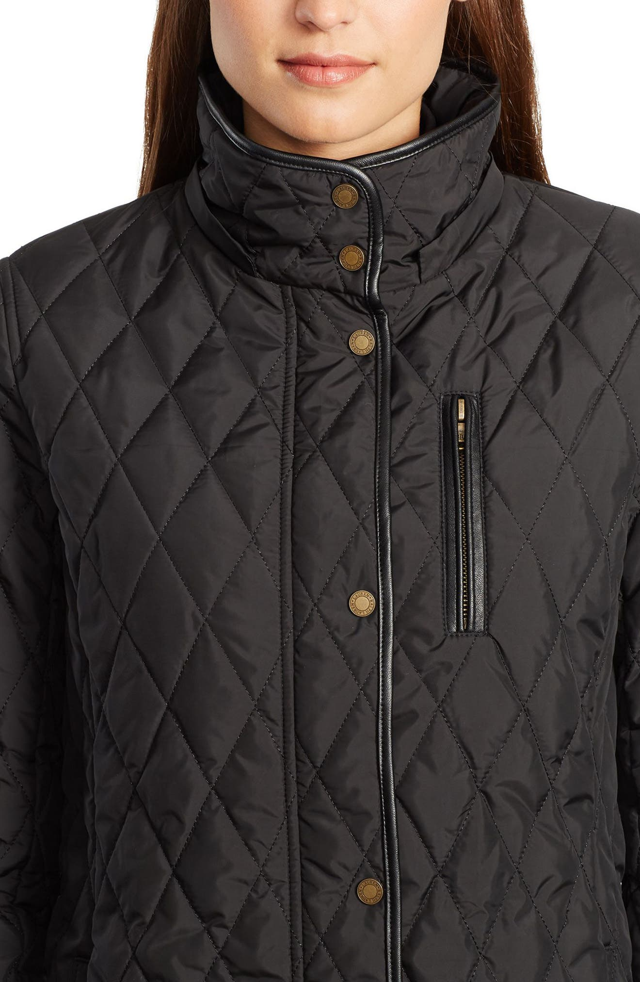 LAUREN RALPH LAUREN,                             Quilted Jacket,                             Alternate thumbnail 4, color,                             001