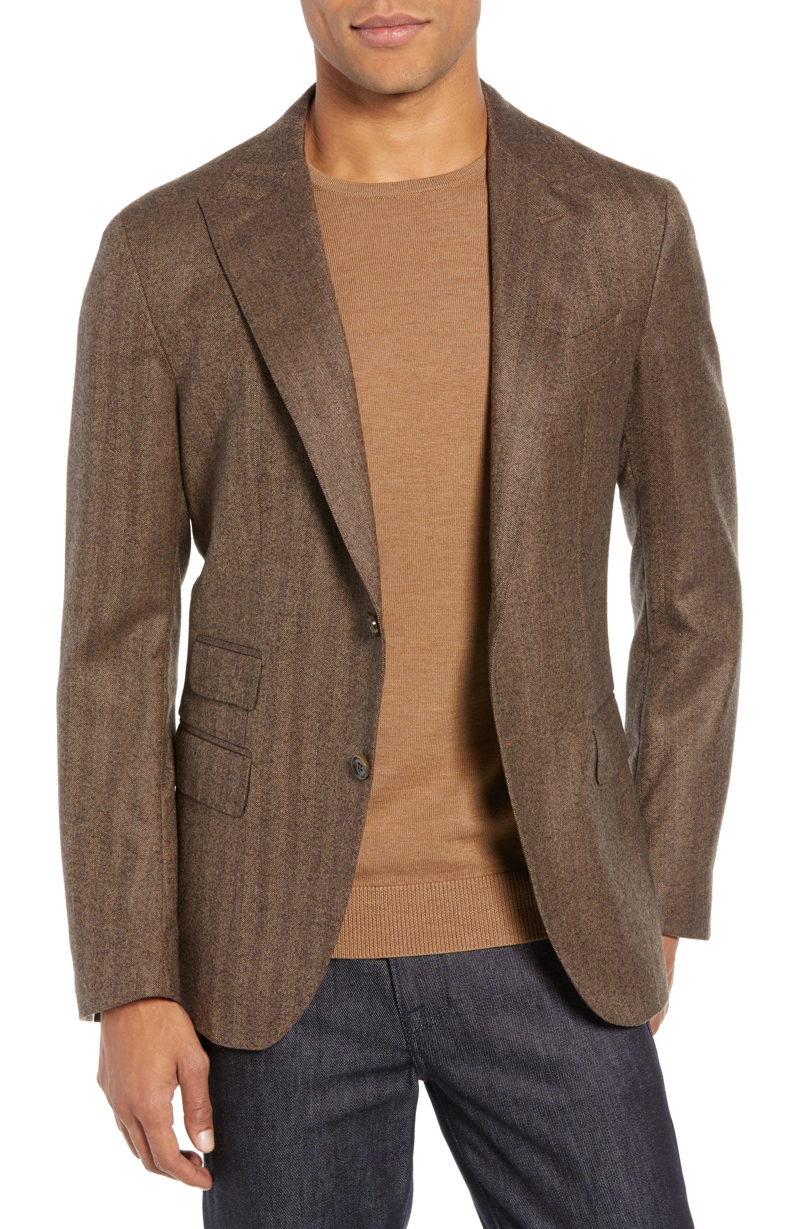Trim Fit Herringbone Wool Sport Coat,                             Main thumbnail 1, color,                             BROWN