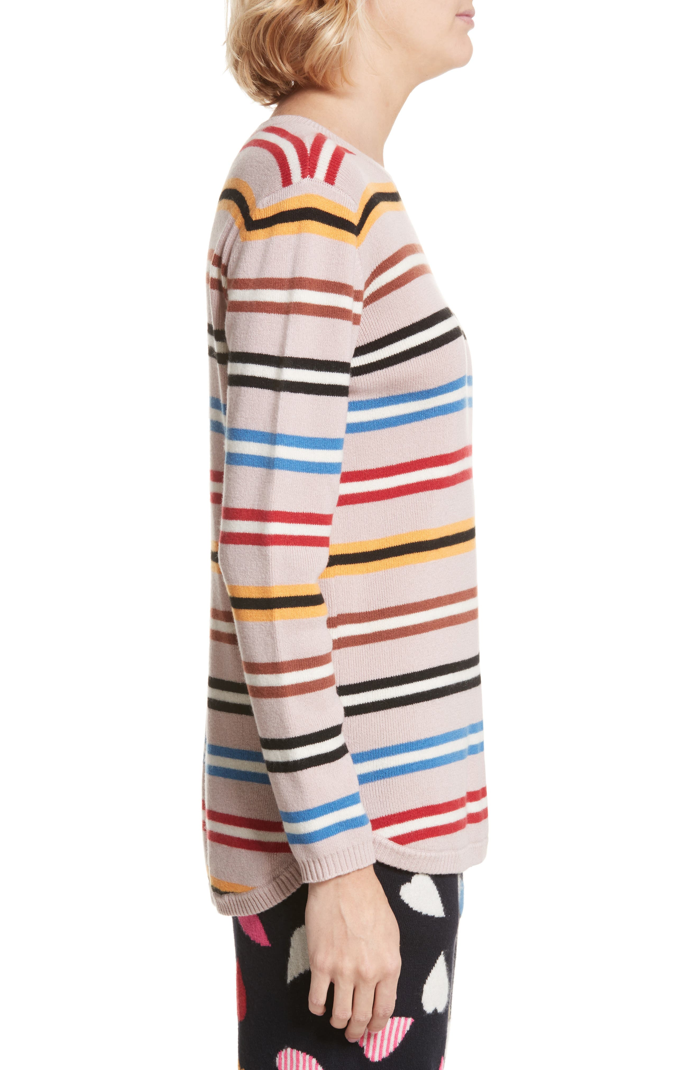 Stripe Cashmere Sweater,                             Alternate thumbnail 3, color,                             250