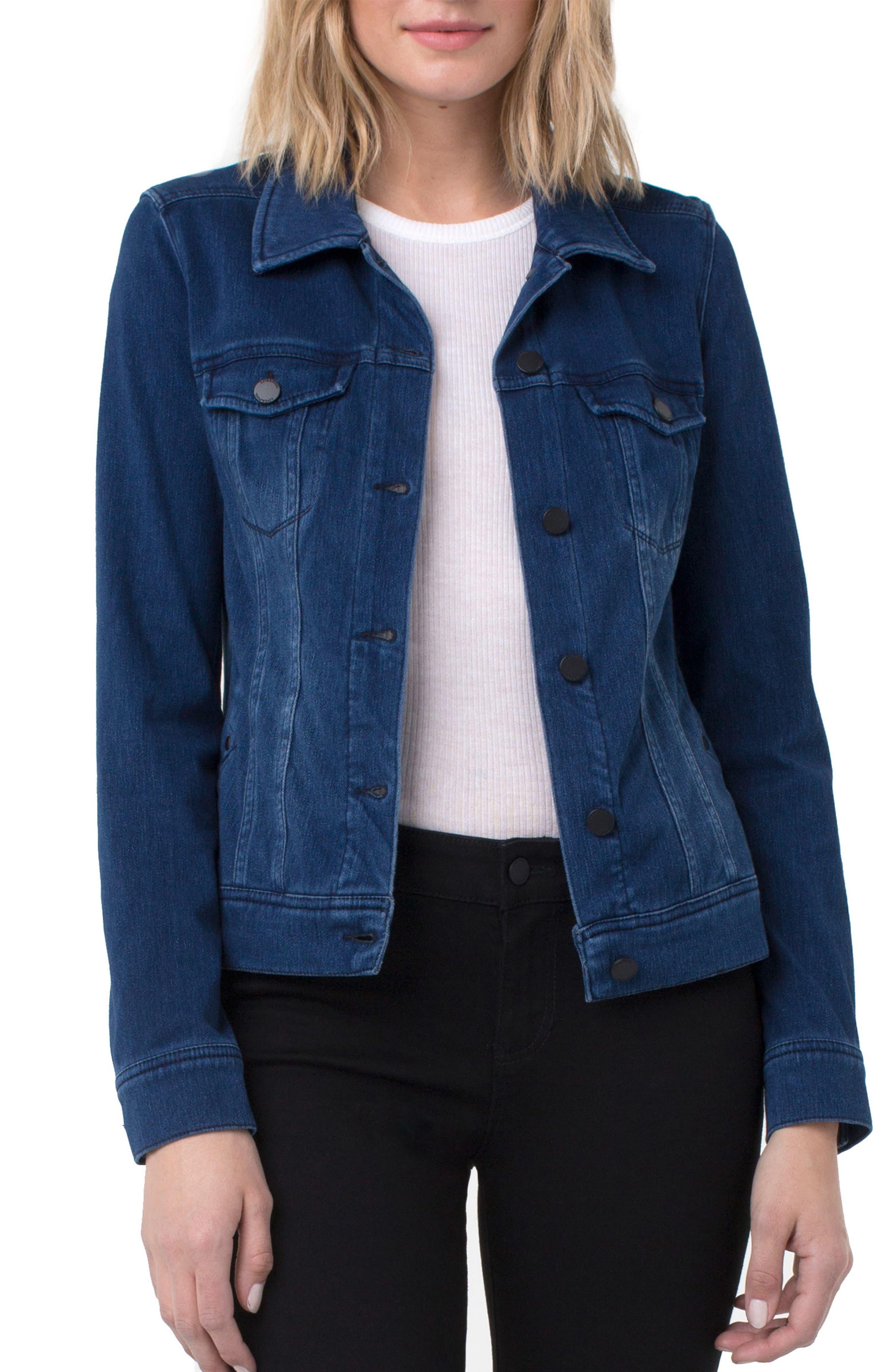 Knit Denim Jacket,                         Main,                         color, DARK AMERICANA