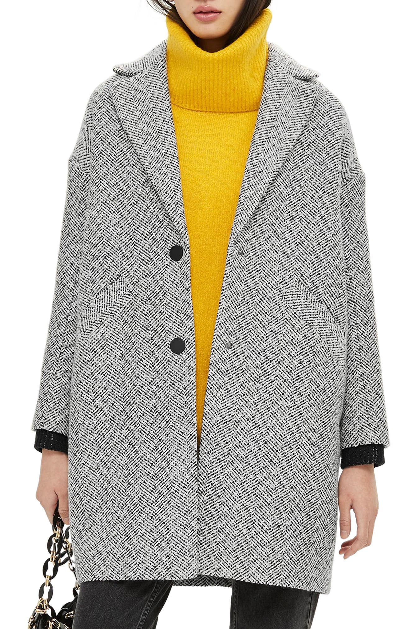 Herringbone Check Coat,                             Main thumbnail 1, color,                             GREY MULTI