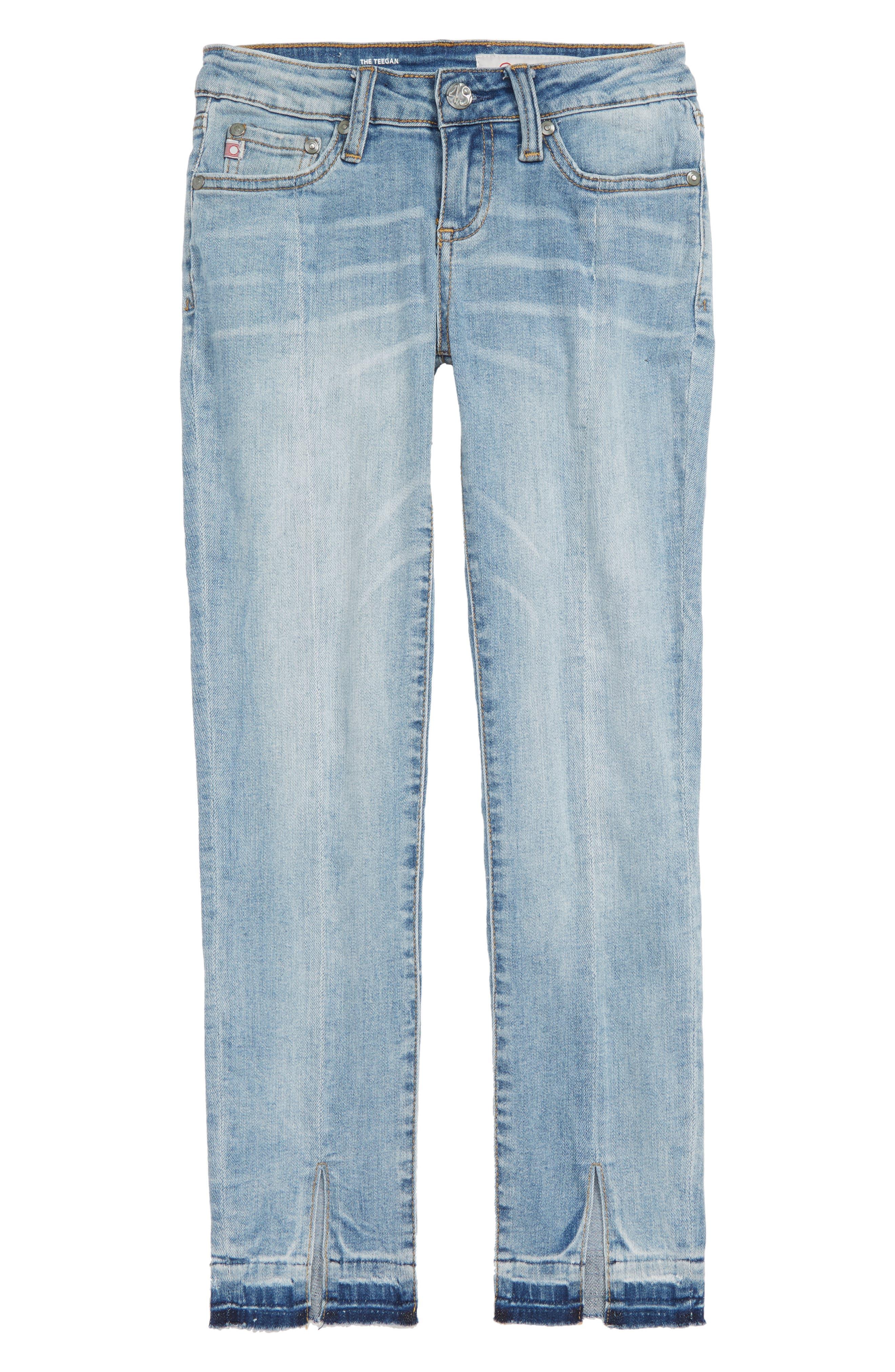 The Teegan Slit Hem Stretch Jeans,                             Main thumbnail 1, color,                             JETTY
