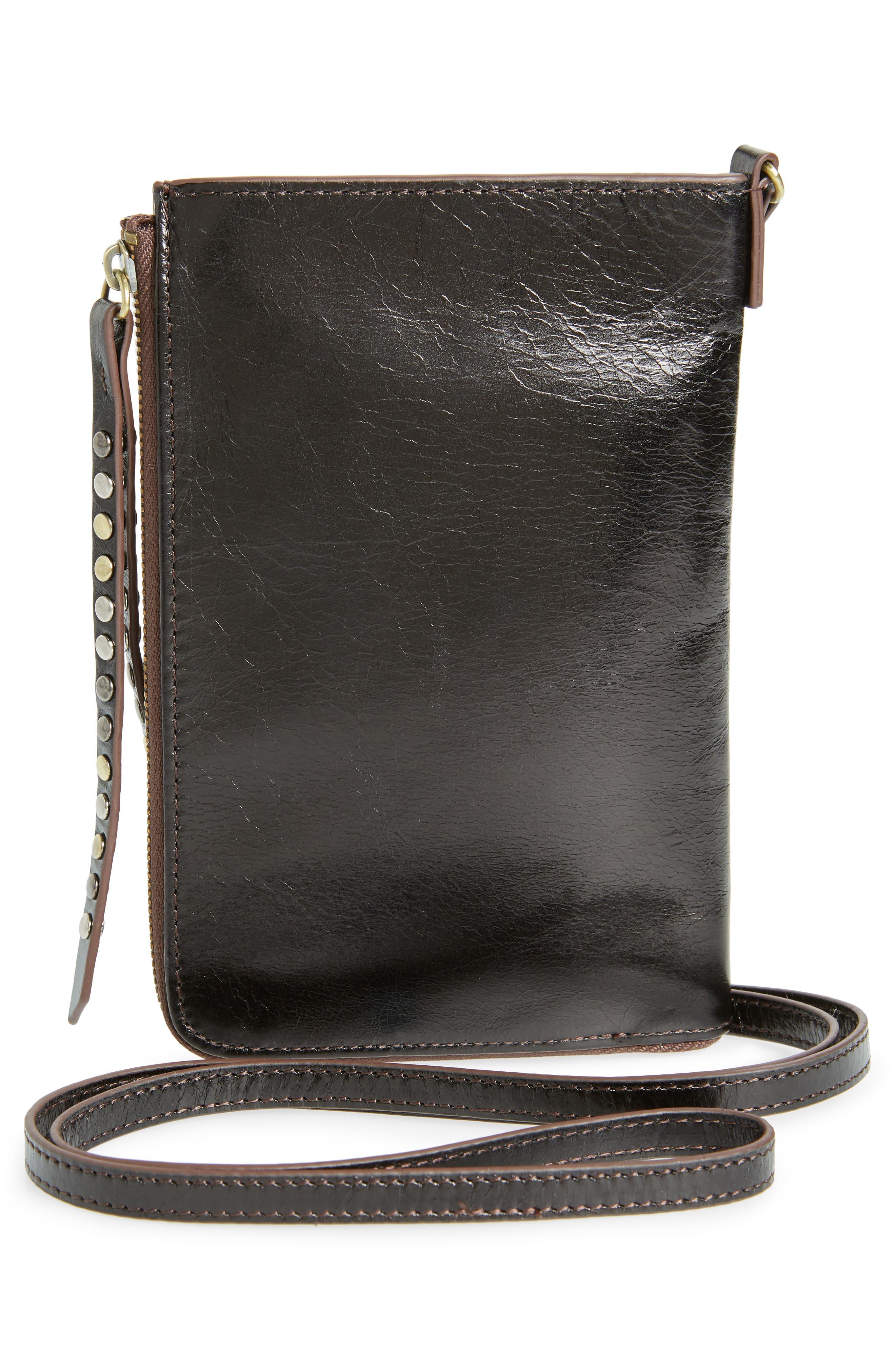 HOBO,                             Moxie Leather Crossbody Bag,                             Alternate thumbnail 3, color,                             BLACK