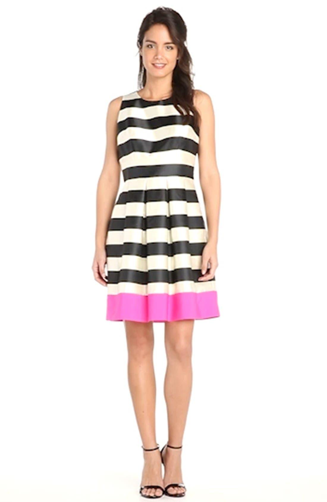 Stripe Crepe Fit & Flare Dress,                             Alternate thumbnail 2, color,                             011
