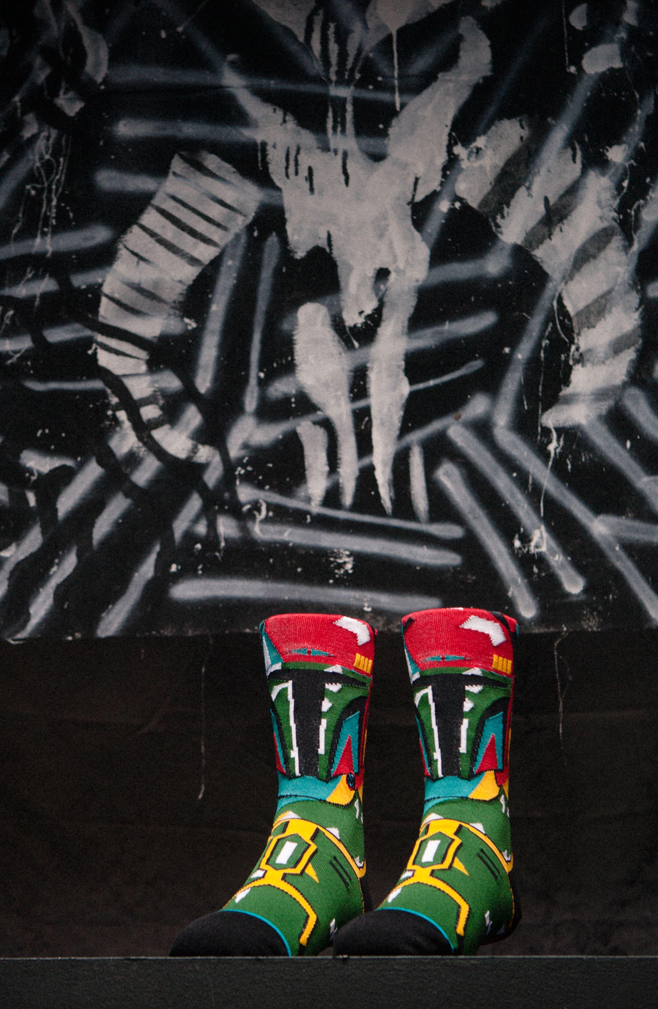 x Star Wars Boba Mosaic Socks,                             Alternate thumbnail 3, color,                             001