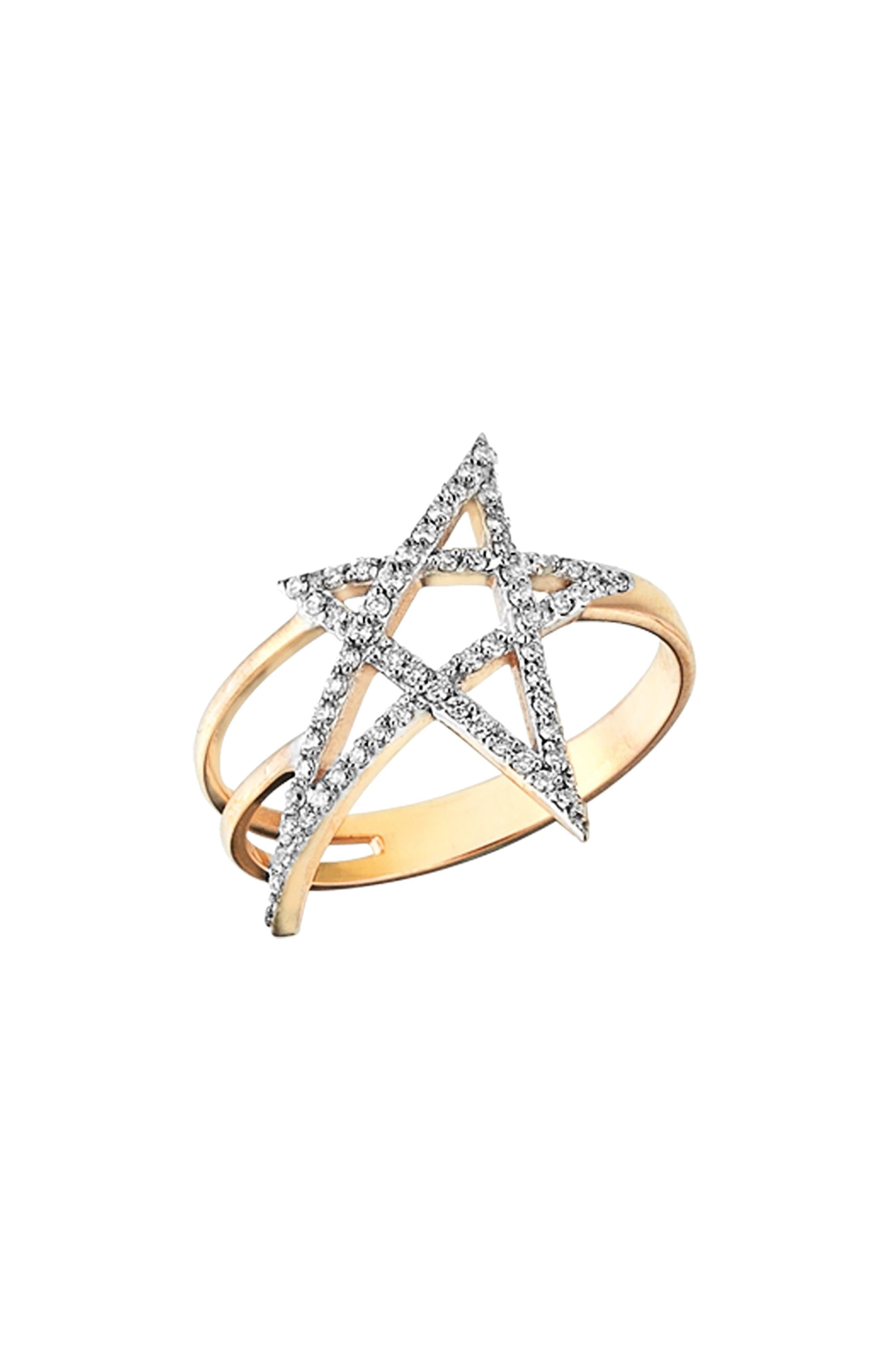 Struck Doodle Star Diamond Ring,                             Main thumbnail 1, color,                             ROSE GOLD