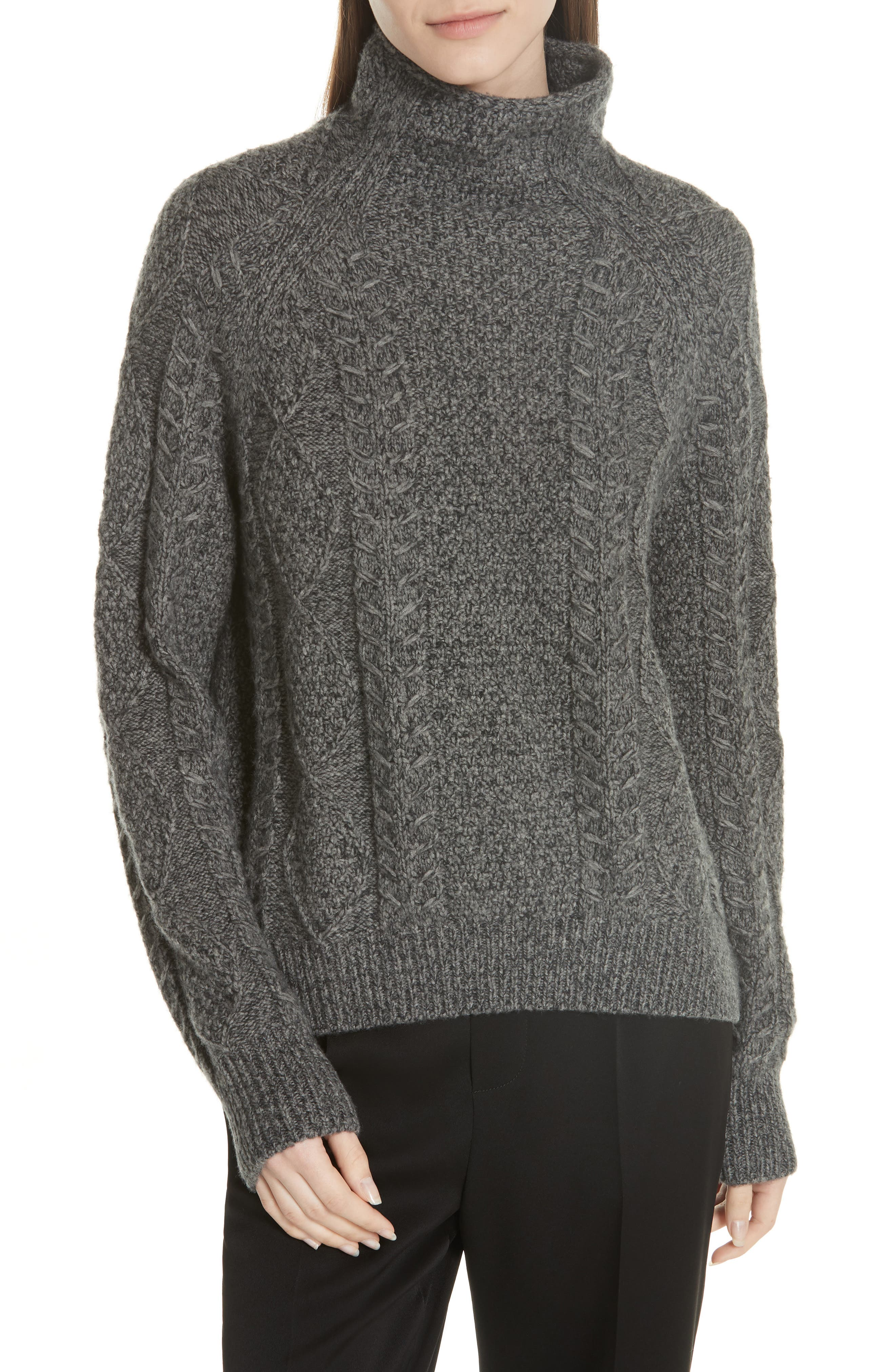 Cable Turtleneck Sweater,                             Main thumbnail 1, color,                             HEATHER STONE/ HEATHER CARBON