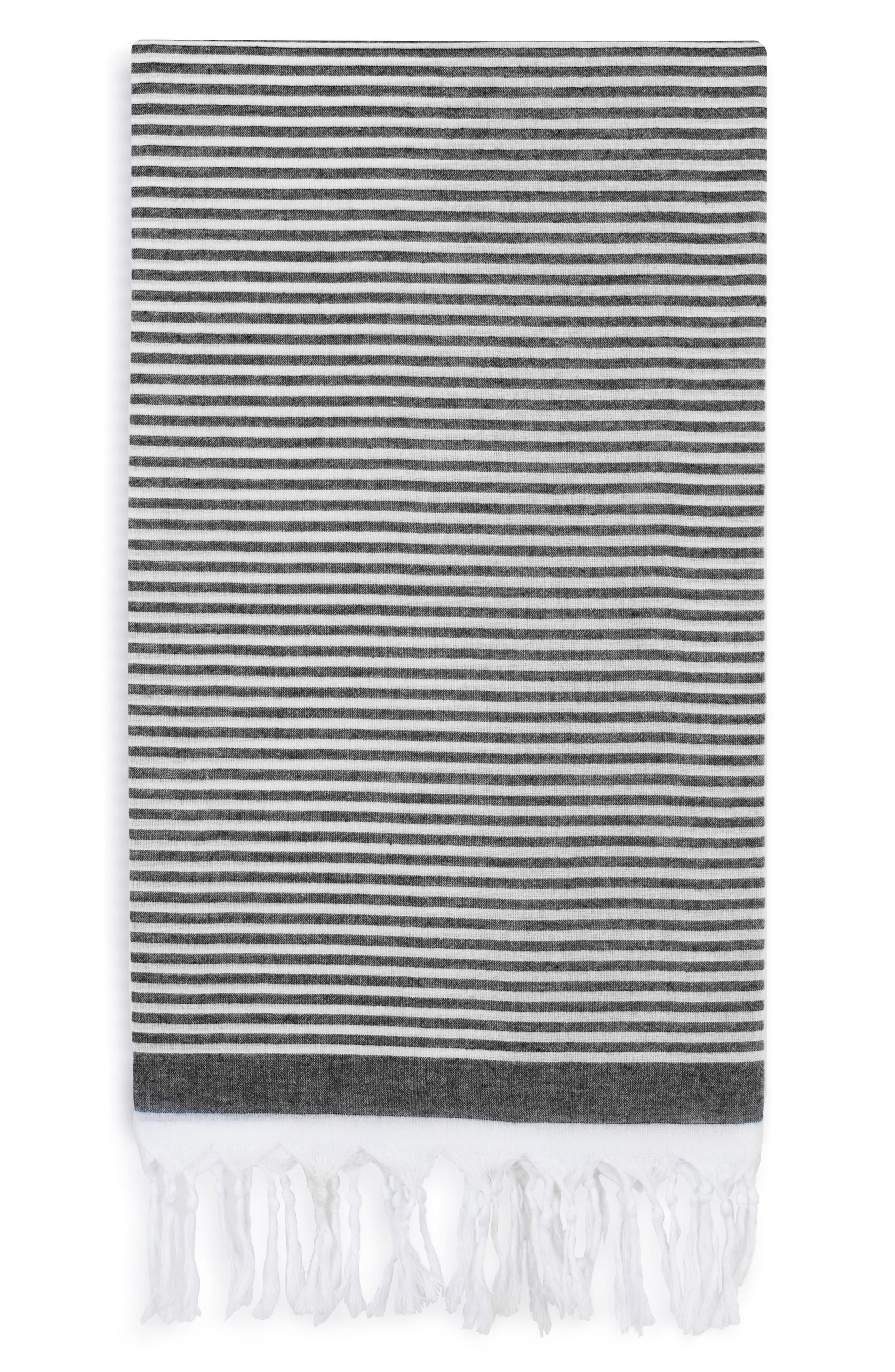 Soft Stripes Turkish Pestemal Towel,                             Main thumbnail 1, color,                             BLACK