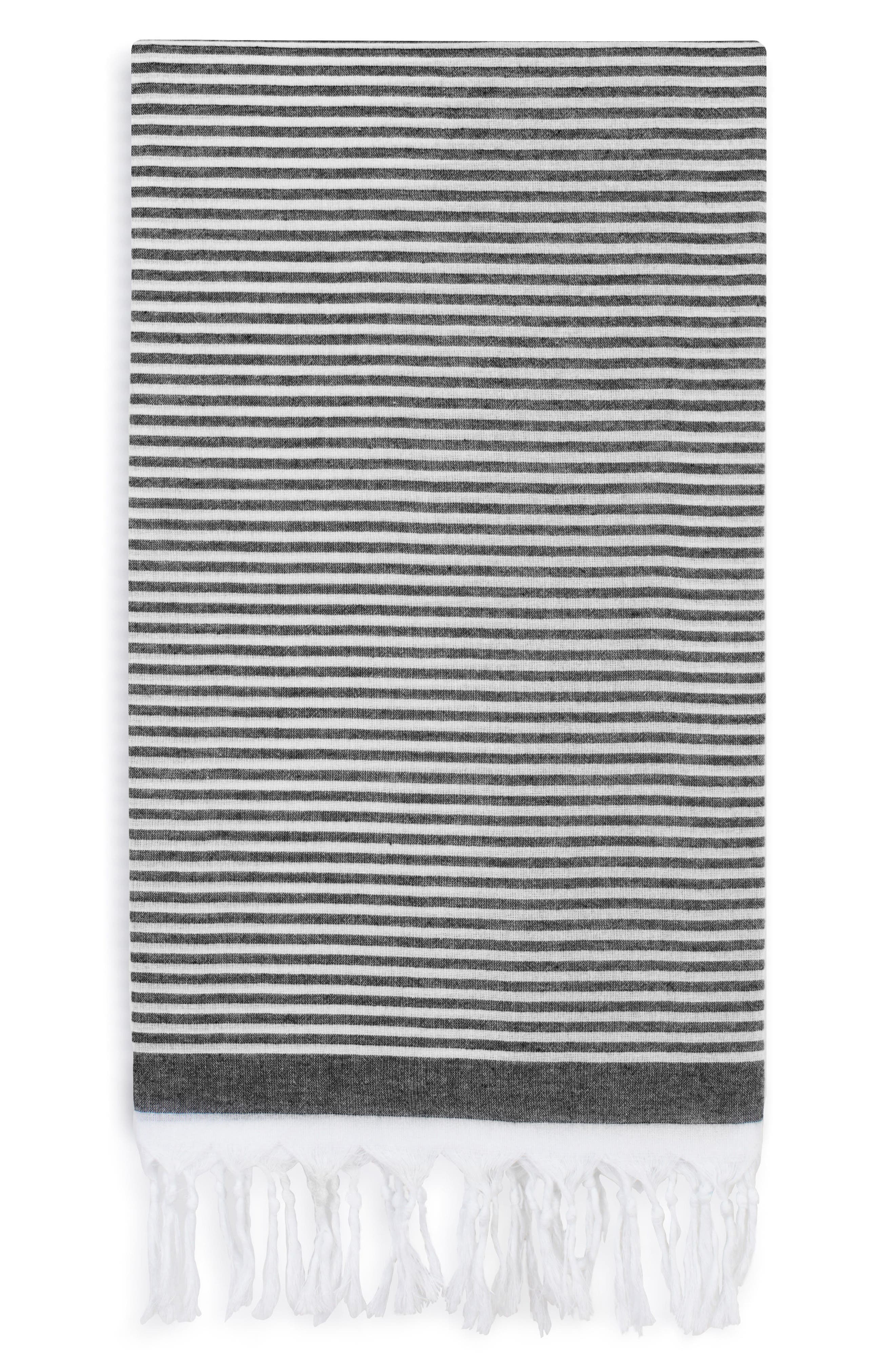 Soft Stripes Turkish Pestemal Towel,                         Main,                         color, BLACK