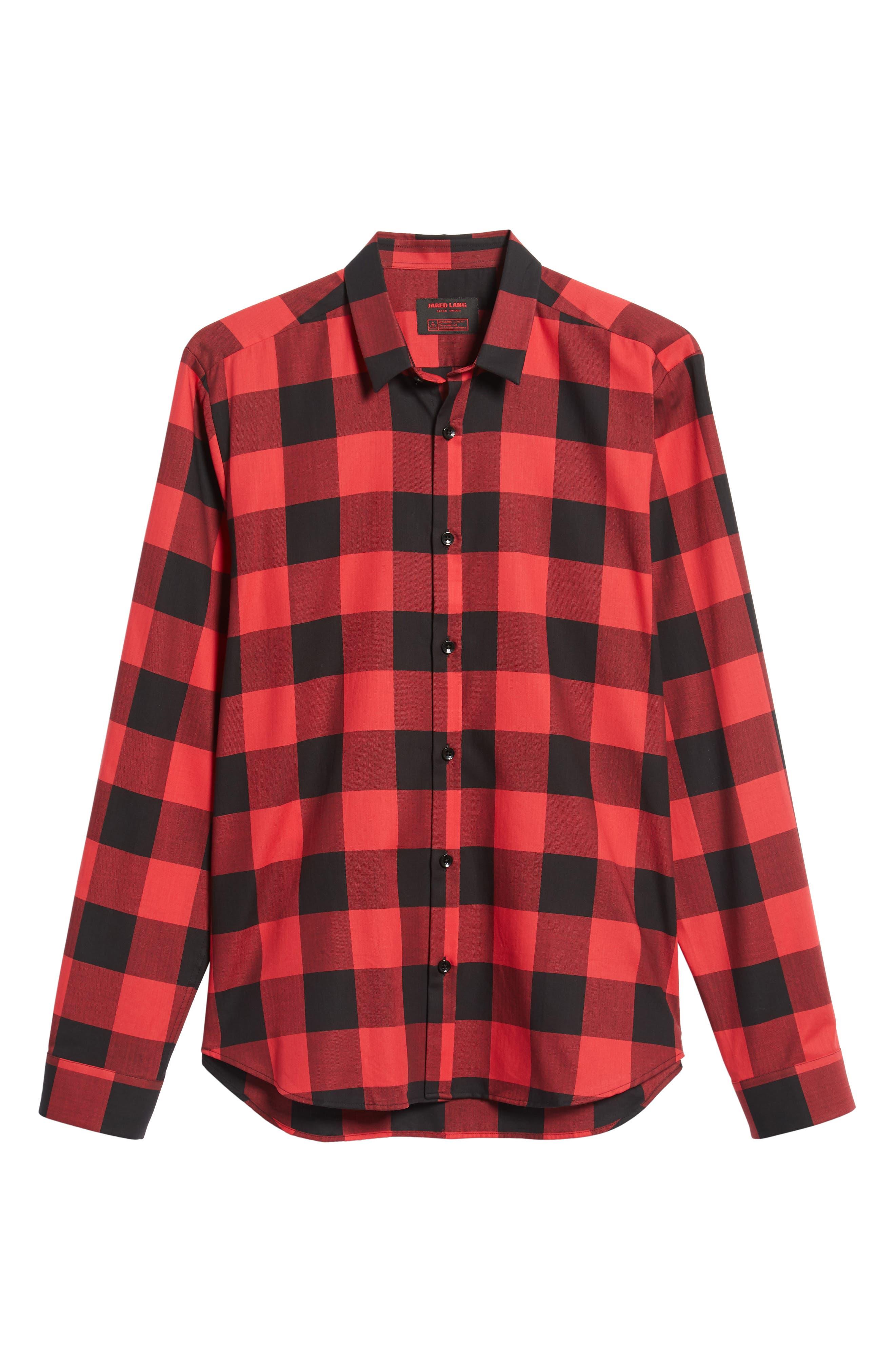 Trim Fit Buffalo Check Sport Shirt,                             Alternate thumbnail 5, color,                             RED / BLACK LARGE CHECK